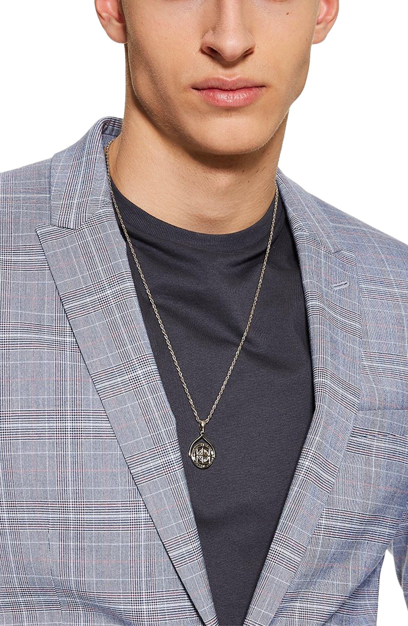 TOPMAN, Skinny Fit Suit Jacket, Alternate thumbnail 3, color, BLUE MULTI
