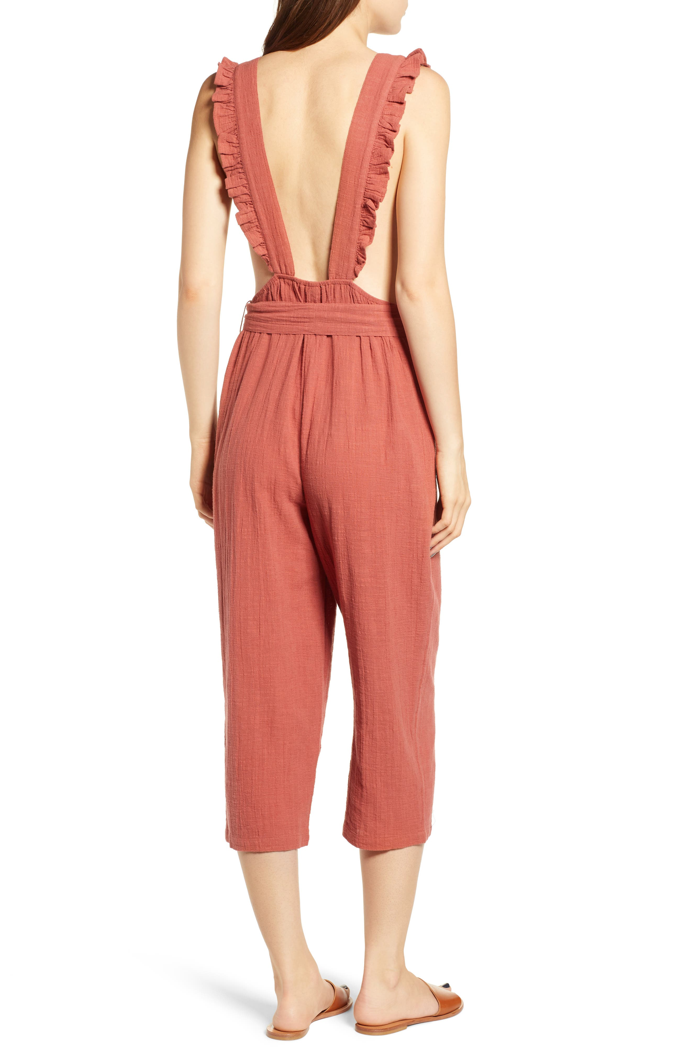 TOPSHOP, Frill Crop Jumpsuit, Alternate thumbnail 2, color, 220
