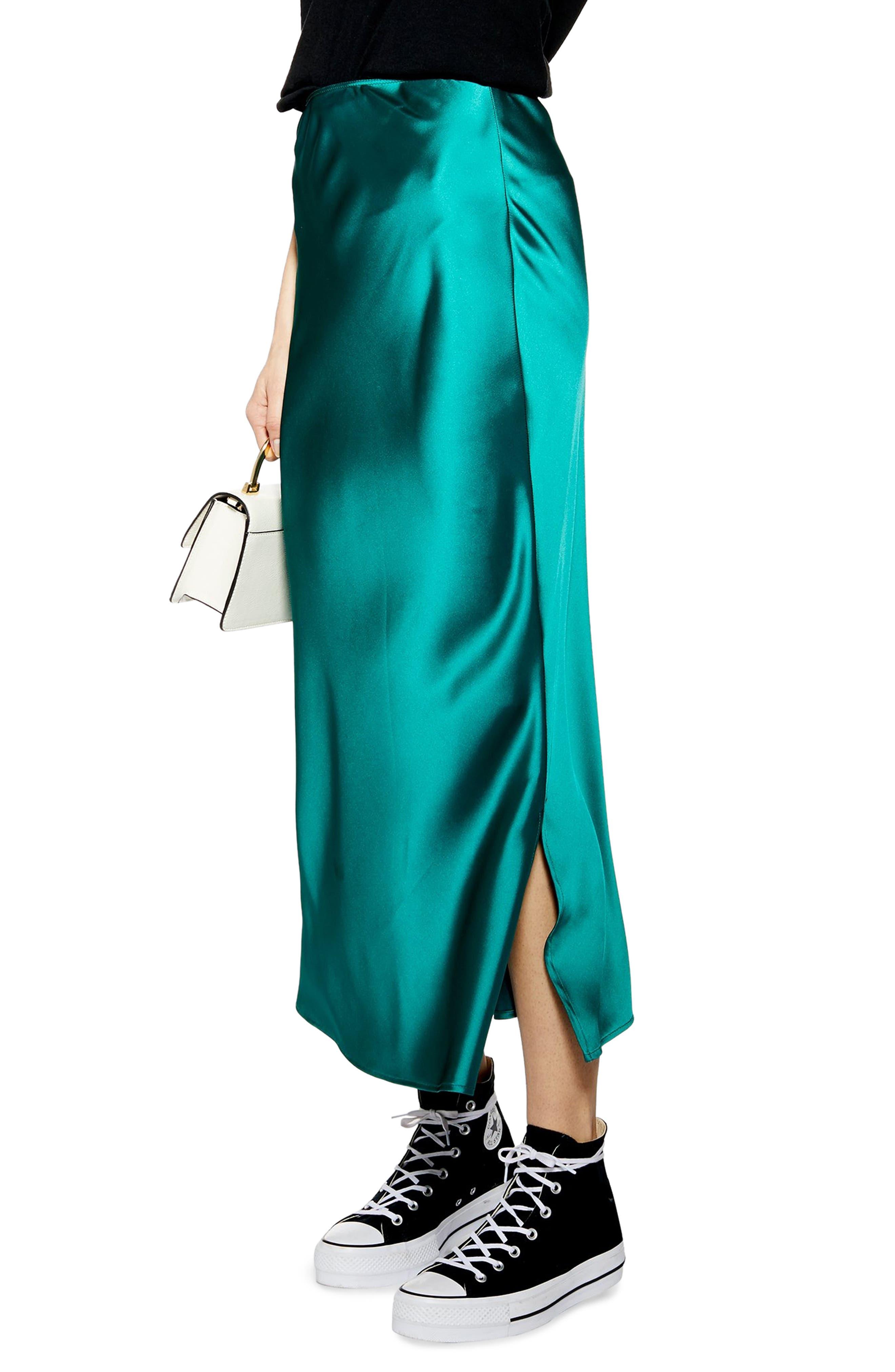 TOPSHOP Split Side Bias Midi Skirt, Main, color, EMERALD