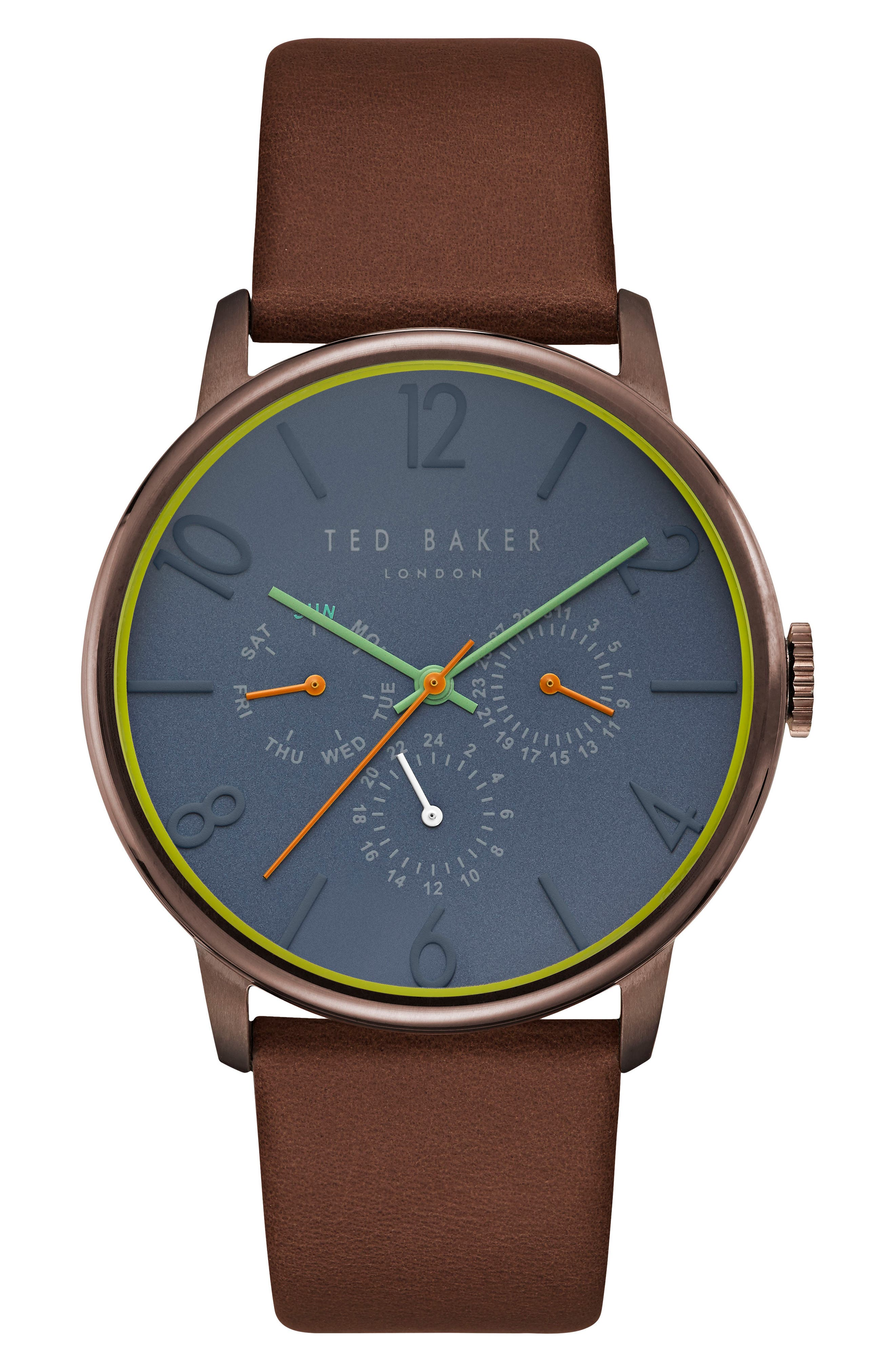 TED BAKER LONDON, James Multifunction Leather Strap Watch, 42mm, Main thumbnail 1, color, NAVY/ TAN