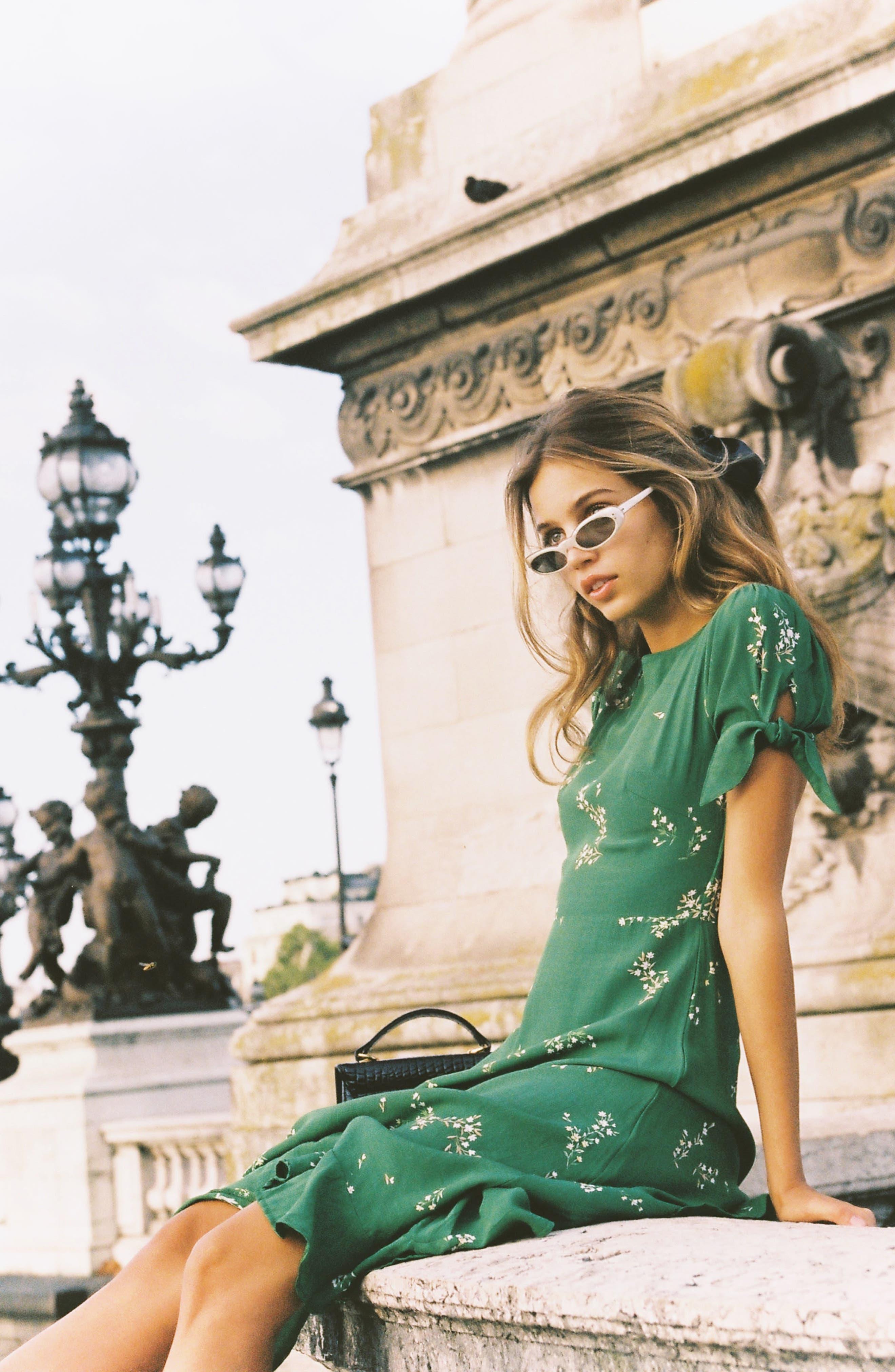 FAITHFULL THE BRAND, Emilia Floral Midi Dress, Alternate thumbnail 7, color, MYRTILLE FLORAL PRINT - GREEN