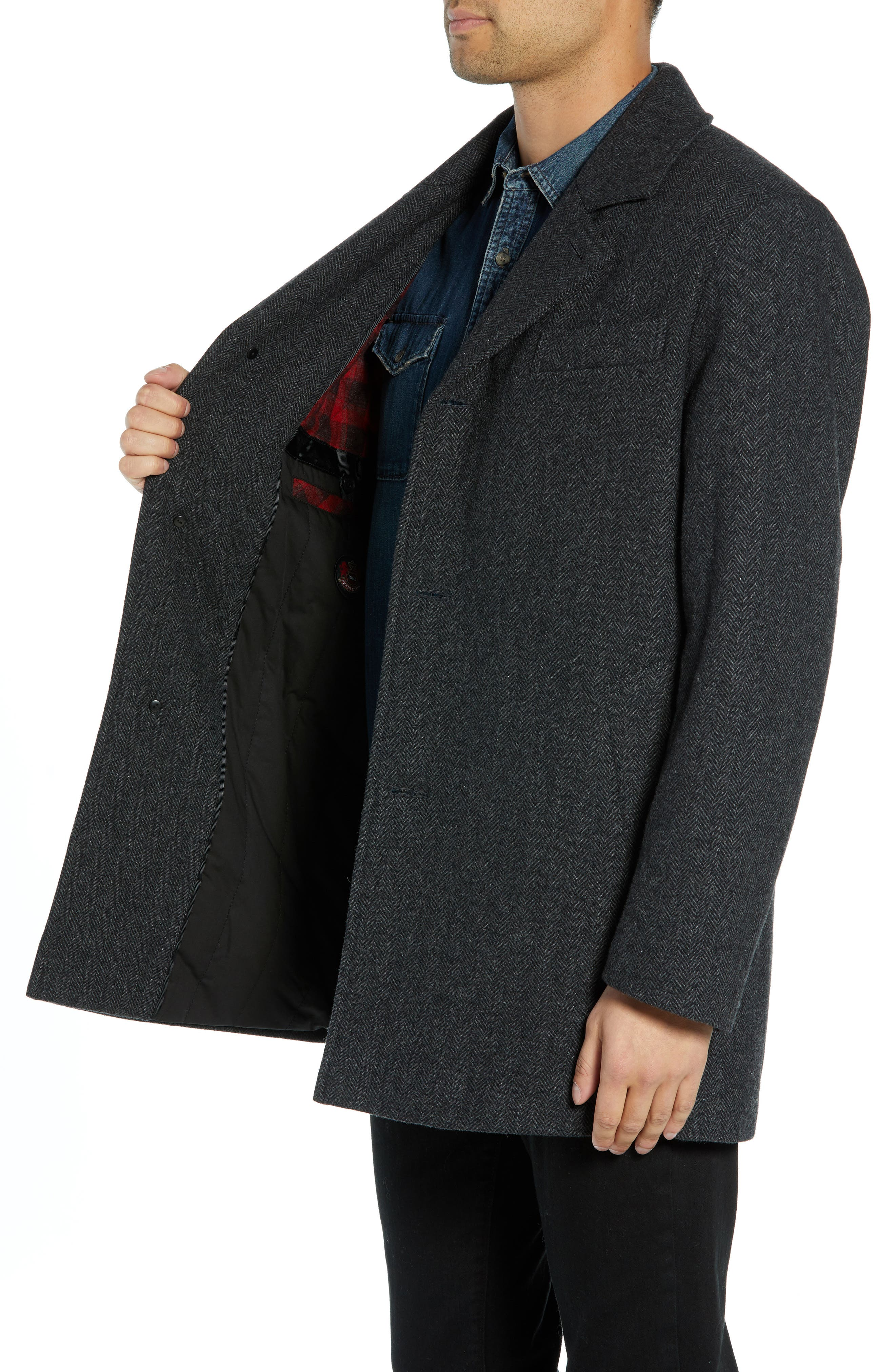 PENDLETON, Iconic Textures Manhattan Wool Blend Top Coat, Alternate thumbnail 4, color, CHARCOAL HERRINGBONE