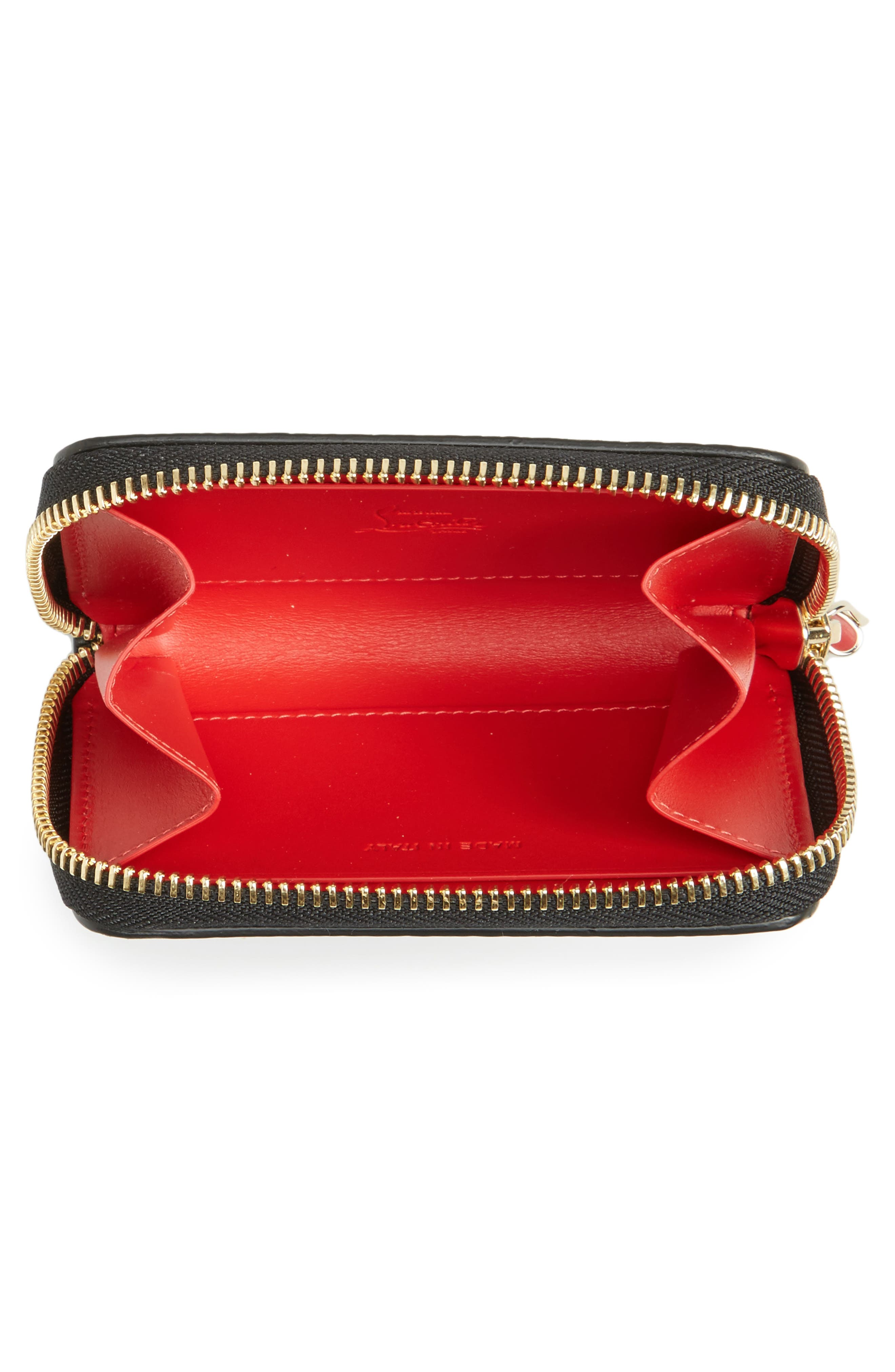 CHRISTIAN LOUBOUTIN, Panettone Leather Coin Purse, Alternate thumbnail 2, color, BLACK/ GOLD