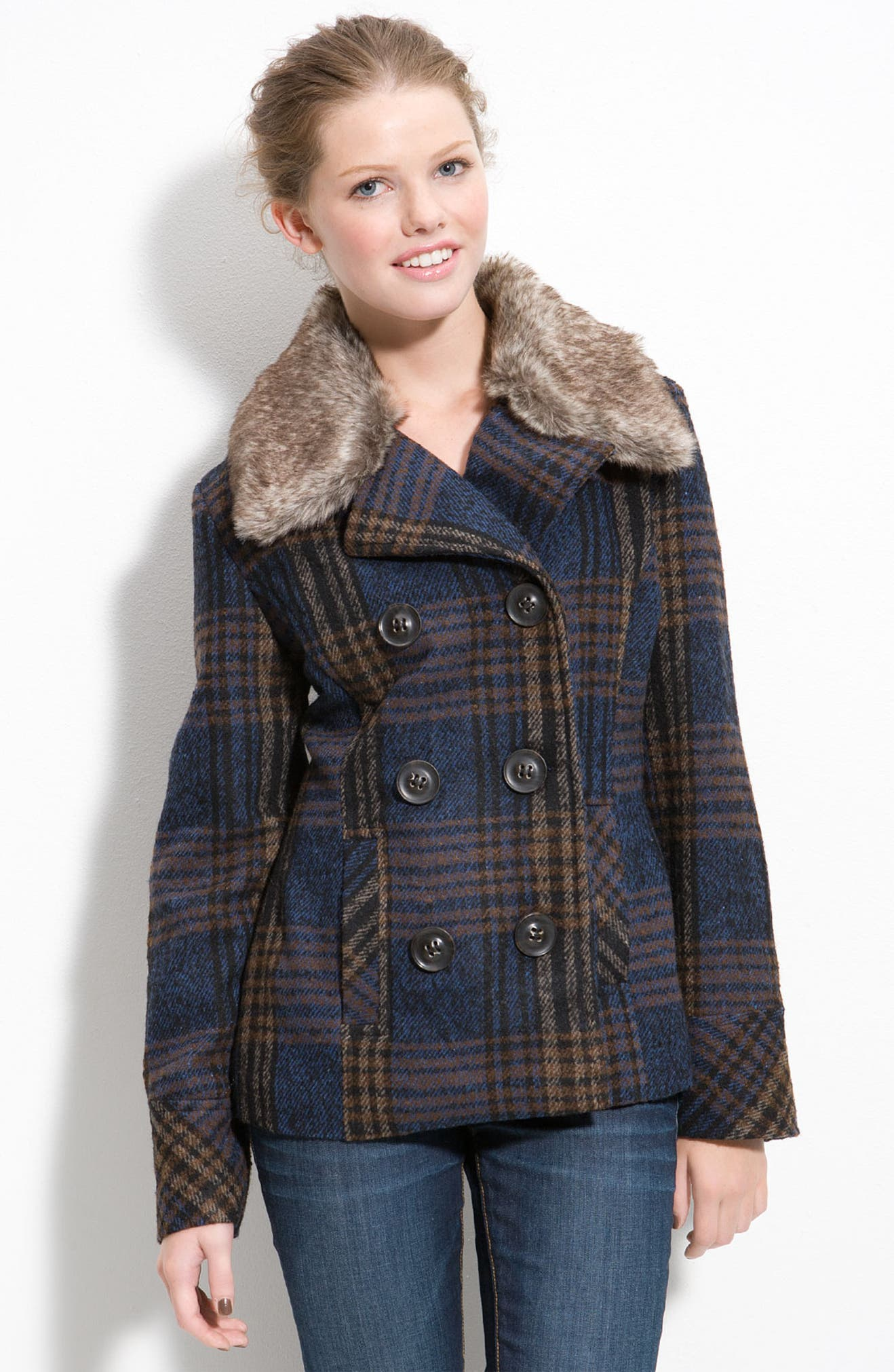 new selection complimentary shipping 2019 clearance sale Plaid Peacoat with Faux Fur Collar