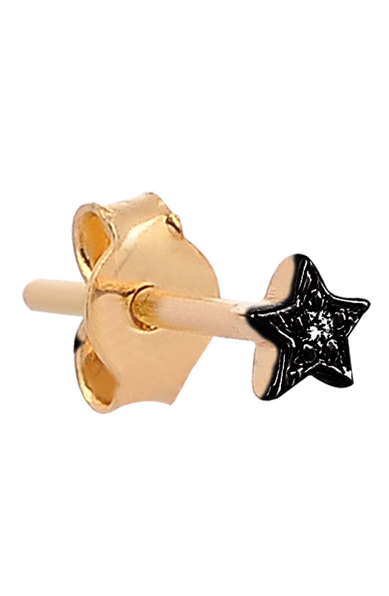 KISMET BY MILKA, Single Diamond Star Stud Earring, Alternate thumbnail 3, color, BLACK GOLD