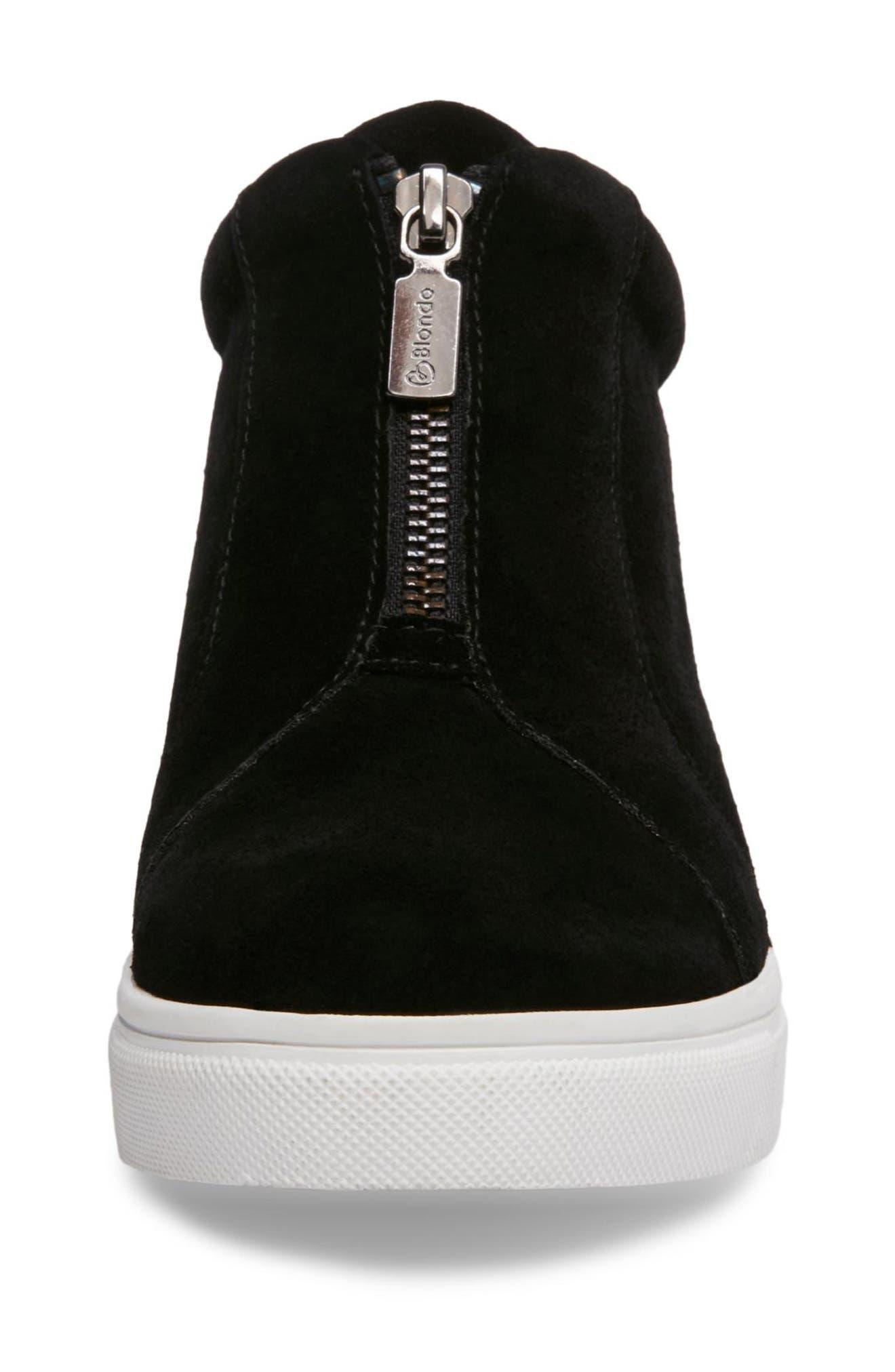 BLONDO, Glenda Waterproof Sneaker Bootie, Alternate thumbnail 4, color, BLACK SUEDE