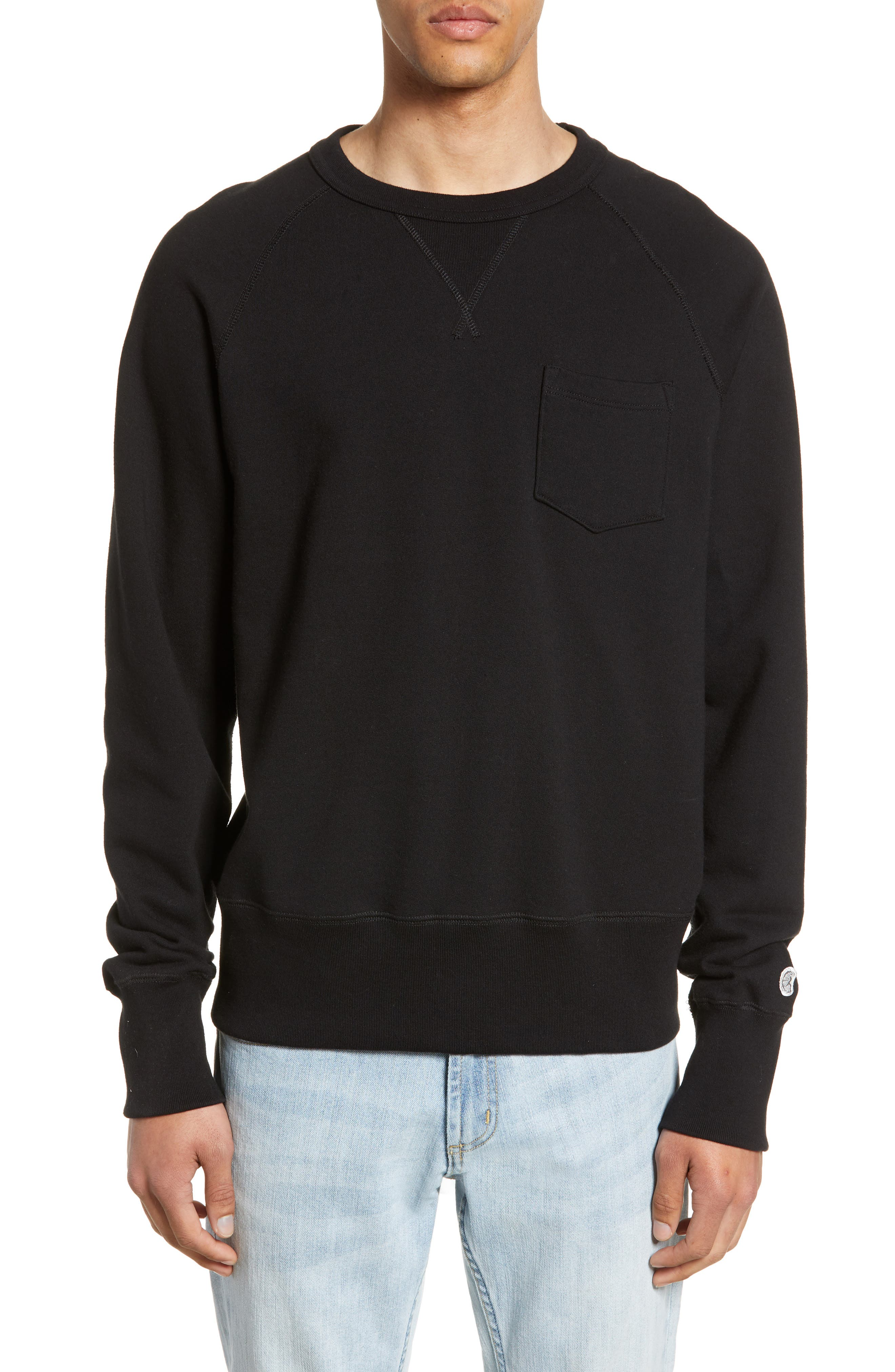 TODD SNYDER + CHAMPION, Todd Snyder Classic Pocket Sweatshirt, Main thumbnail 1, color, BLACK