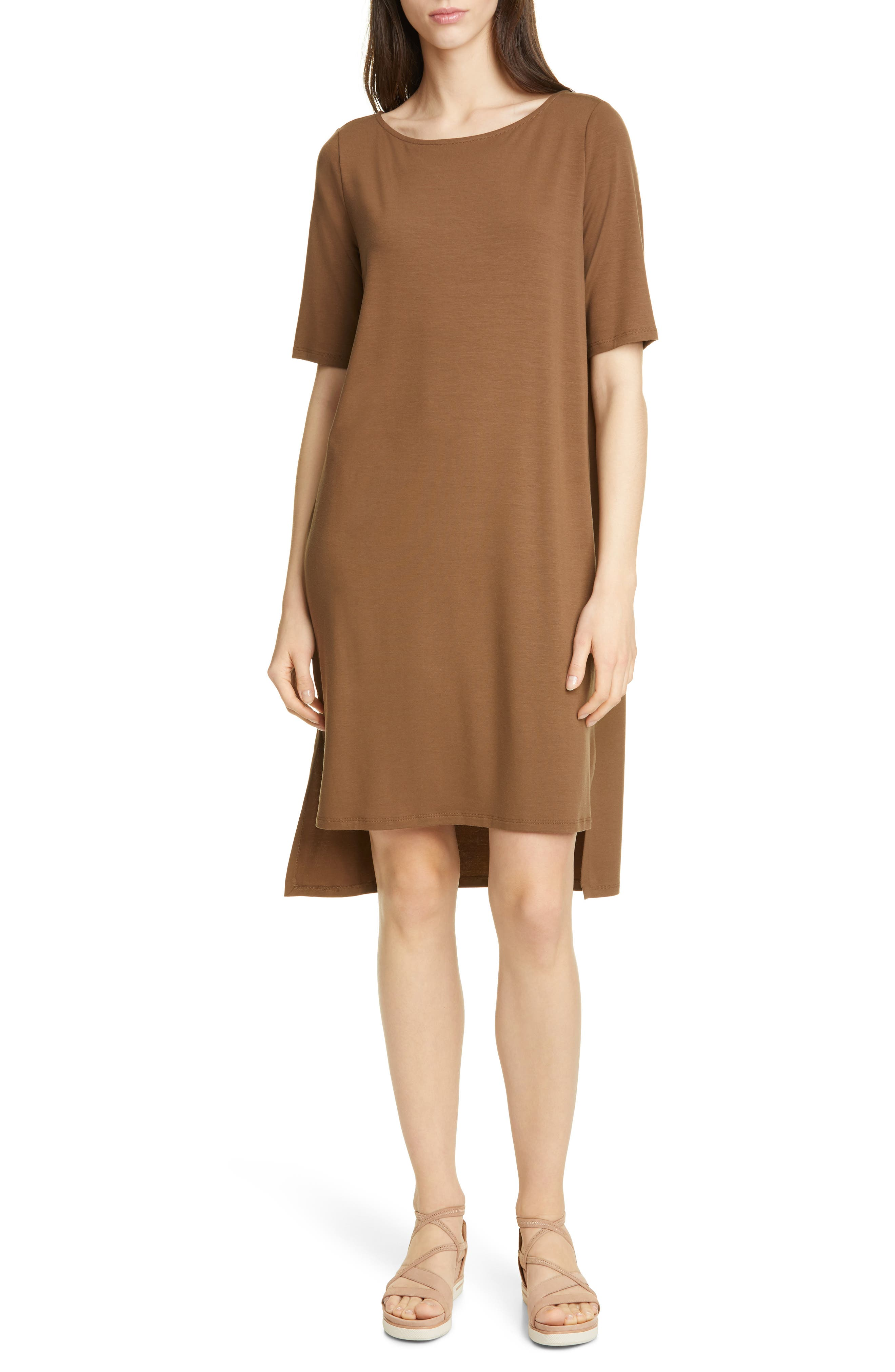 Petite Eileen Fisher High/low Shift Dress, Brown