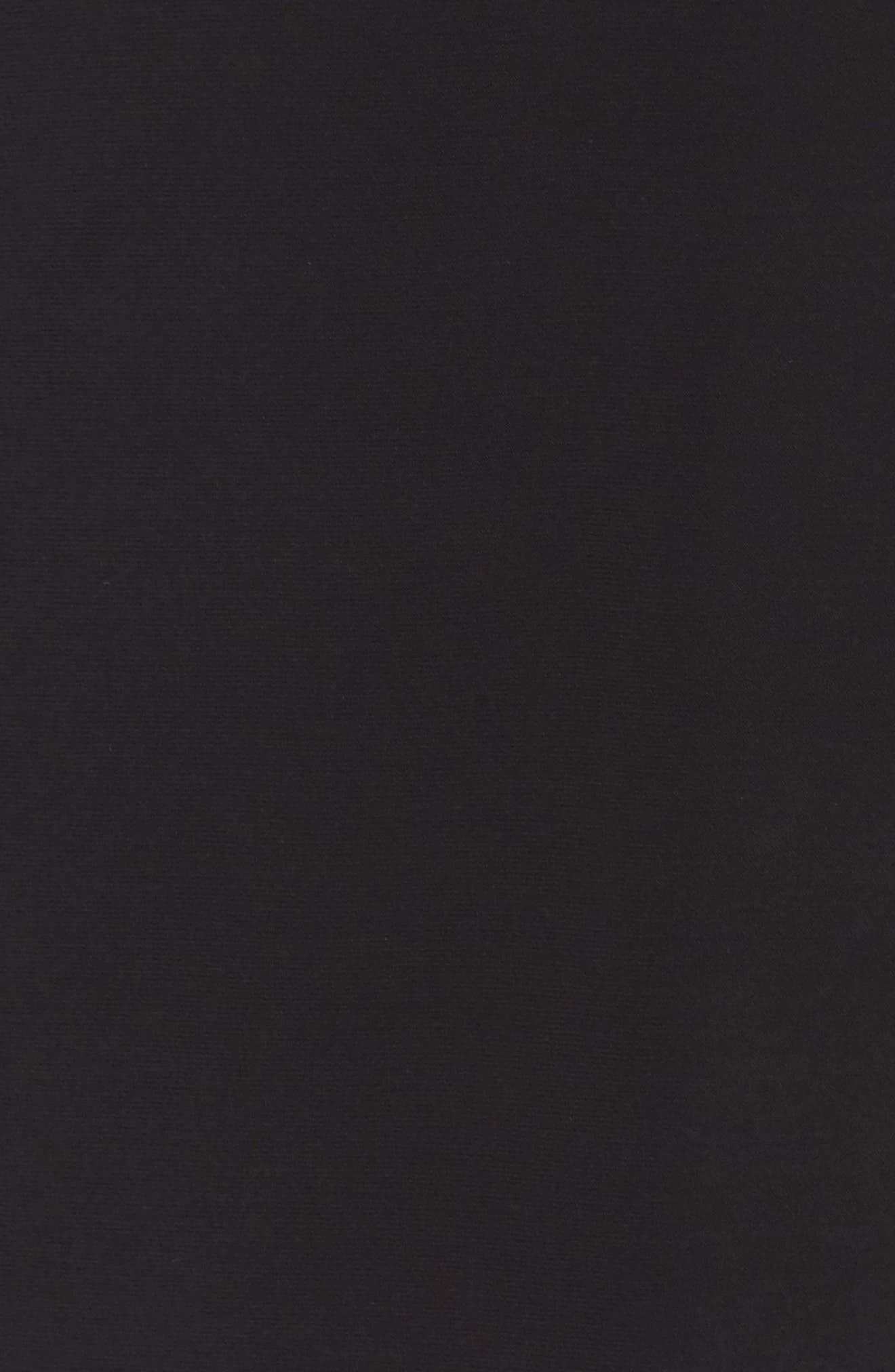 XSCAPE, Off the Shoulder Lace Sleeve Evening Gown, Alternate thumbnail 6, color, BLACK