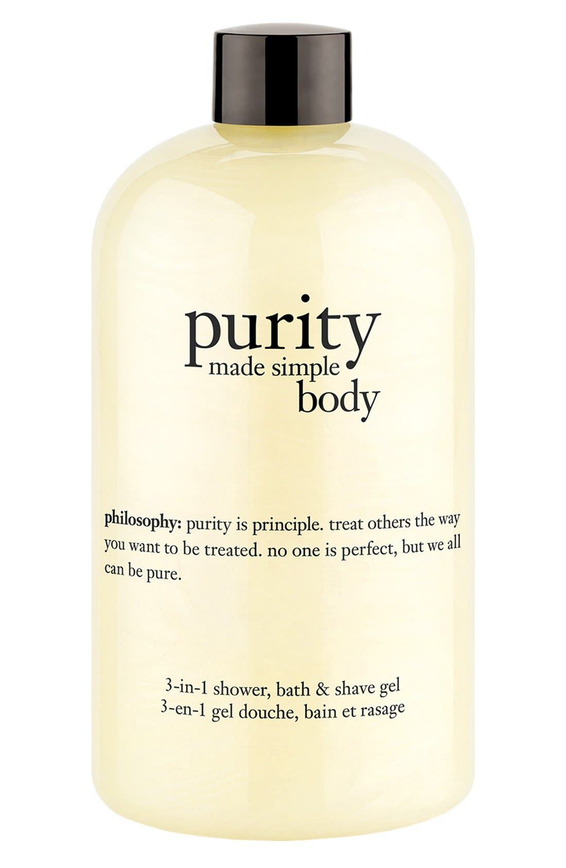 PHILOSOPHY, 'purity made simple body' 3-in-1 shower, bath & shave gel, Main thumbnail 1, color, 000