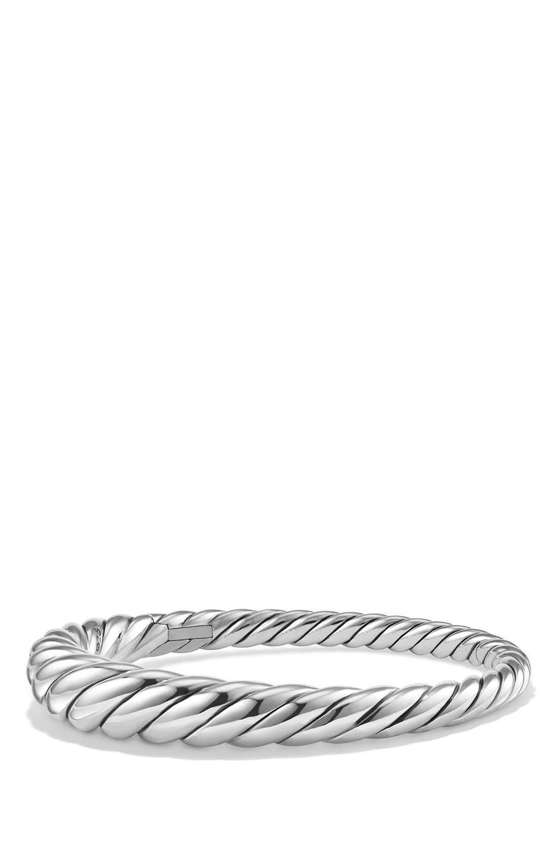 DAVID YURMAN, 'Pure Form' Small Cable Bracelet, Main thumbnail 1, color, SILVER