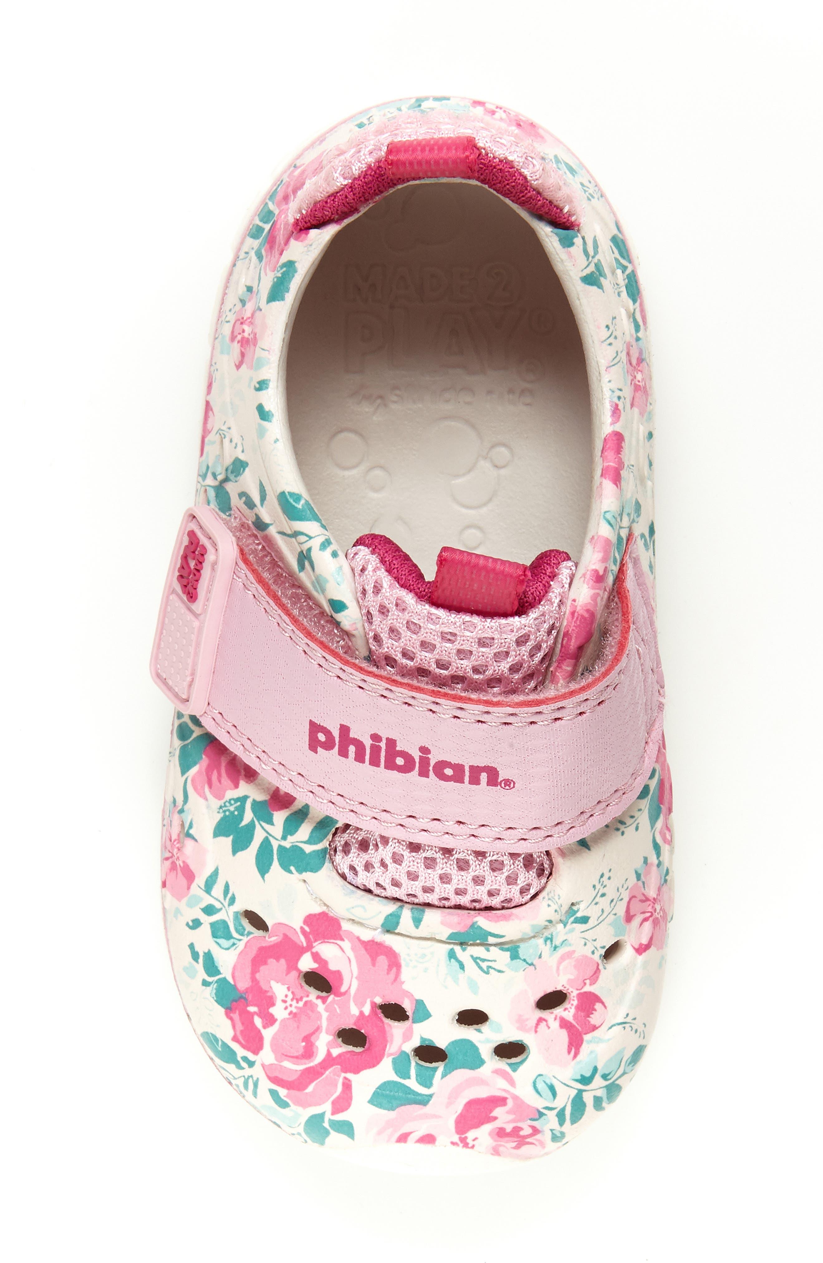 STRIDE RITE, Made2Play<sup>®</sup> Phibian Sneaker, Alternate thumbnail 4, color, WHITE/ PINK EVA