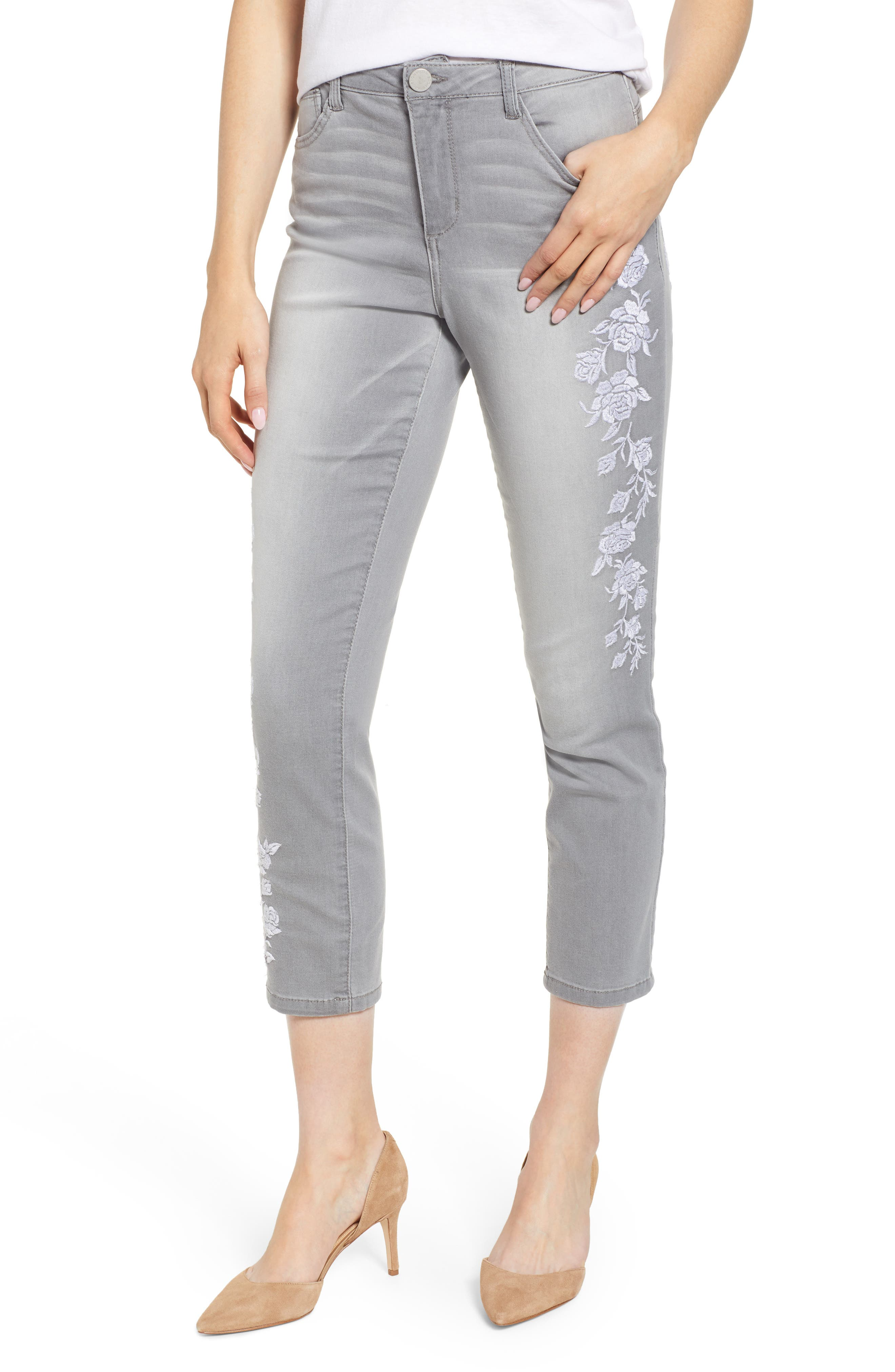 WIT & WISDOM, High Waist Slim Crop Straight Leg Jeans, Main thumbnail 1, color, GREY