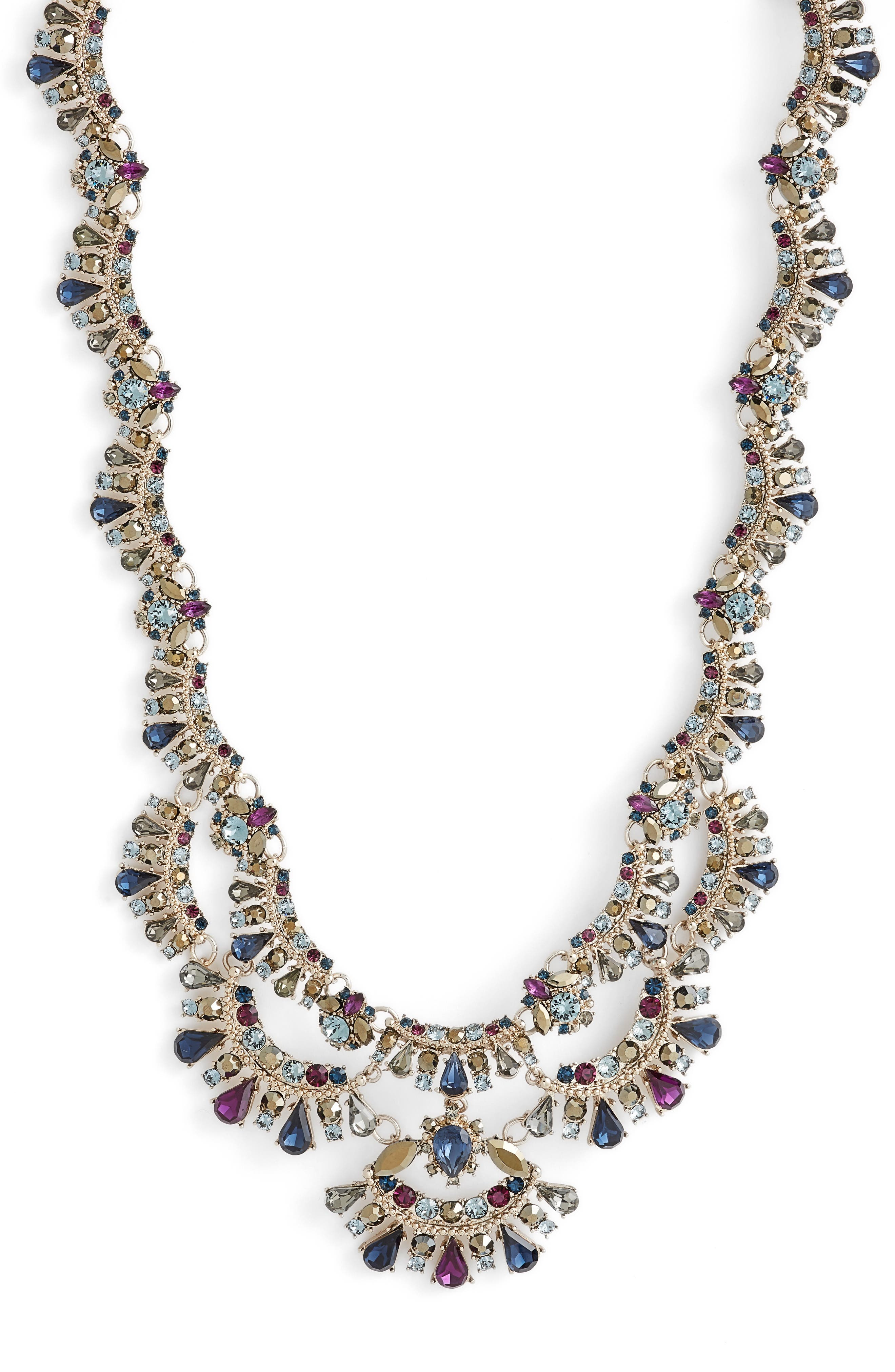 MARCHESA, Crystal Collar Necklace, Main thumbnail 1, color, BLUE MULTI/ GOLD