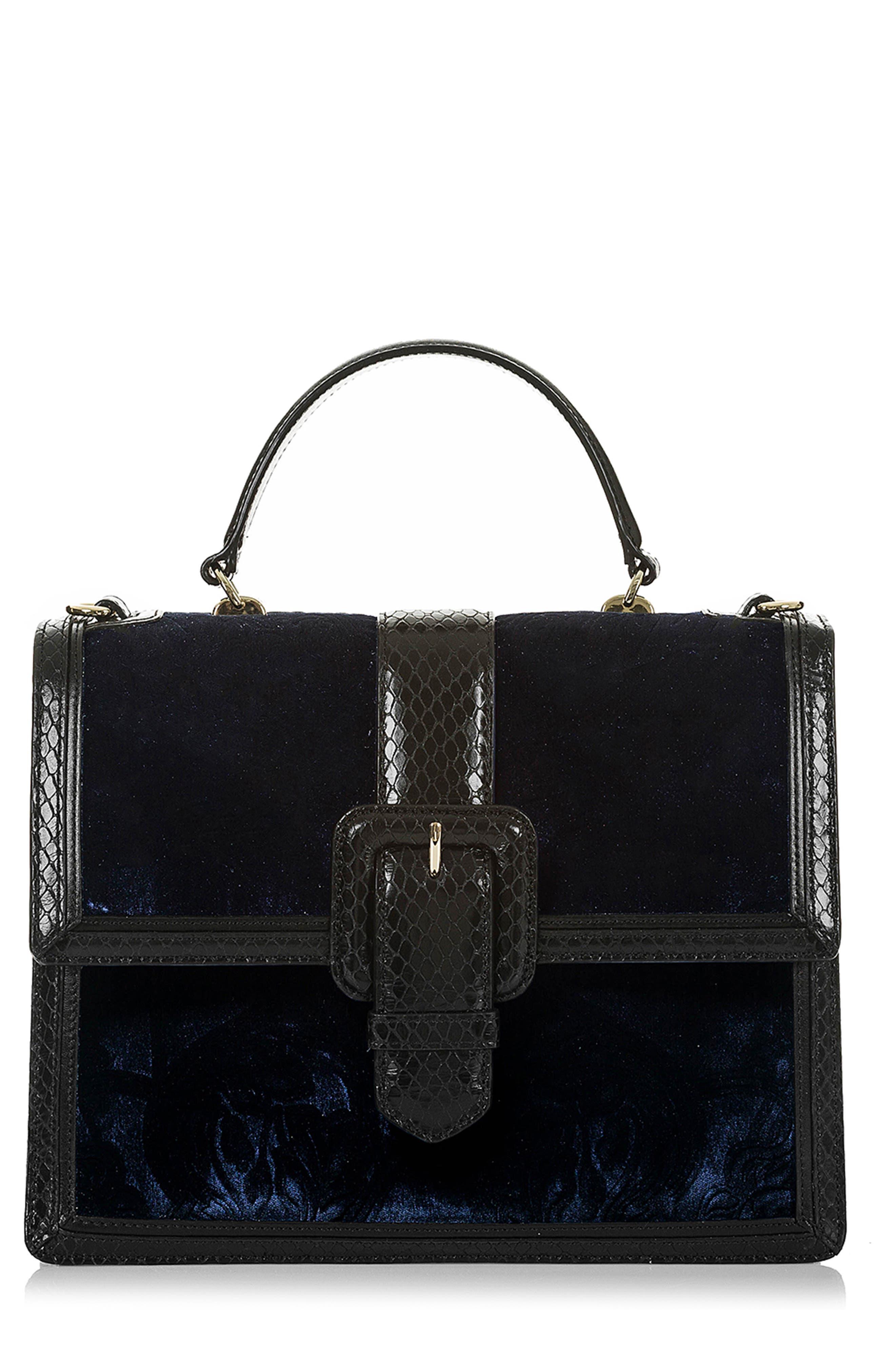 BRAHMIN Medium Francine Snake Embossed Leather & Velvet Satchel, Main, color, NAVY
