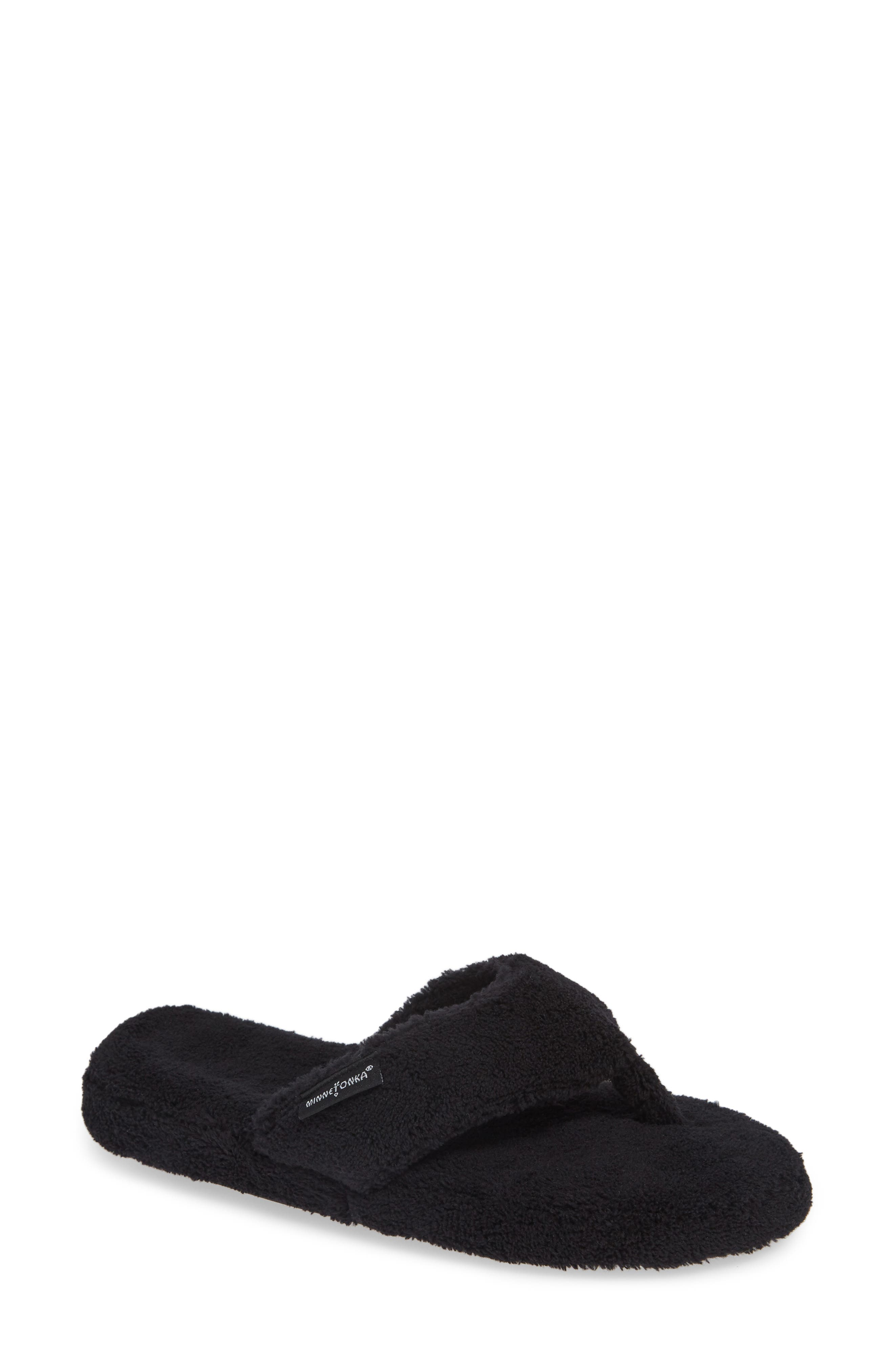 MINNETONKA, Olivia Spa Flip Flop, Main thumbnail 1, color, BLACK FABRIC