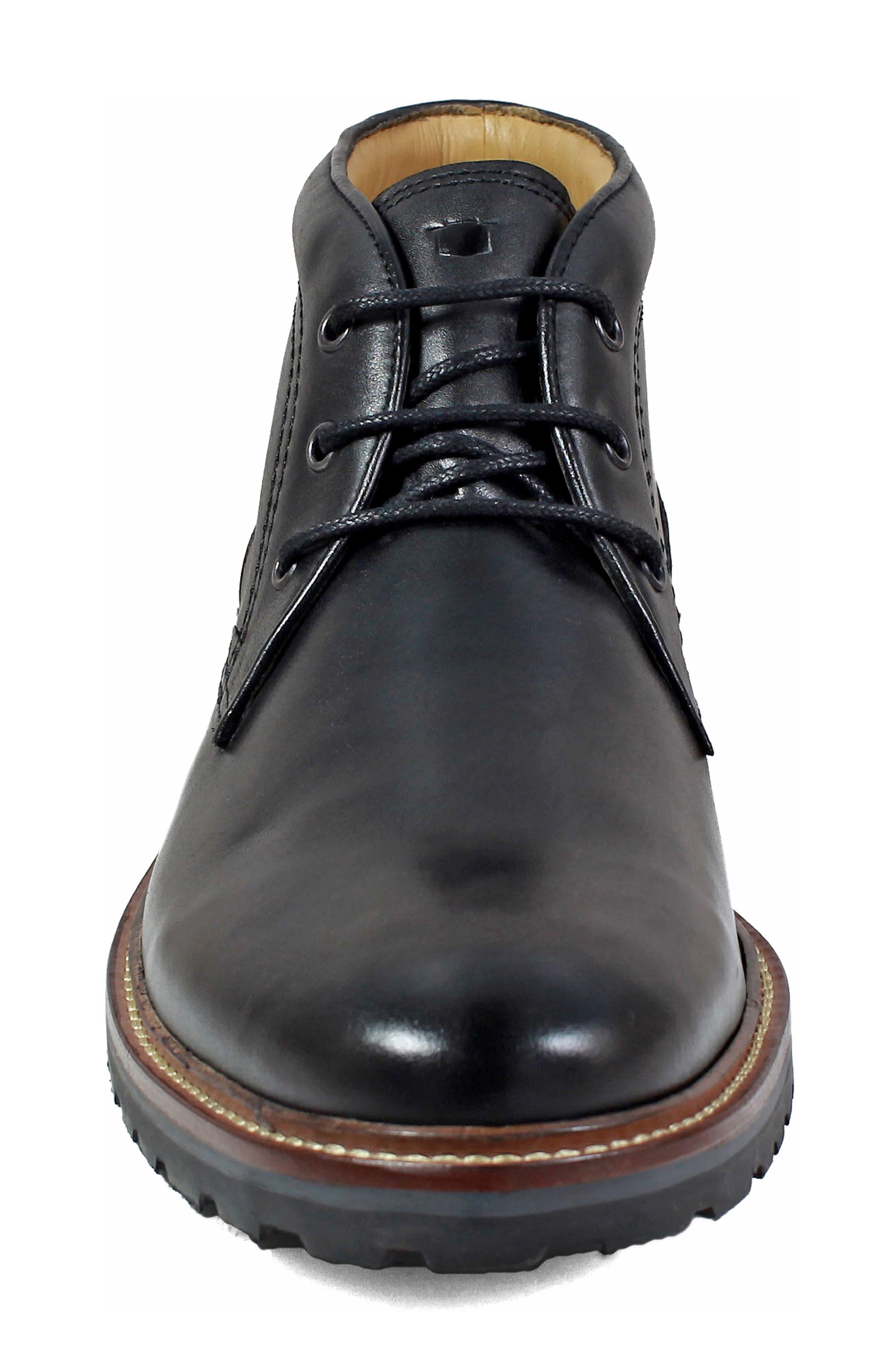 FLORSHEIM, Estabrook Lugged Chukka Boot, Alternate thumbnail 4, color, BLACK LEATHER