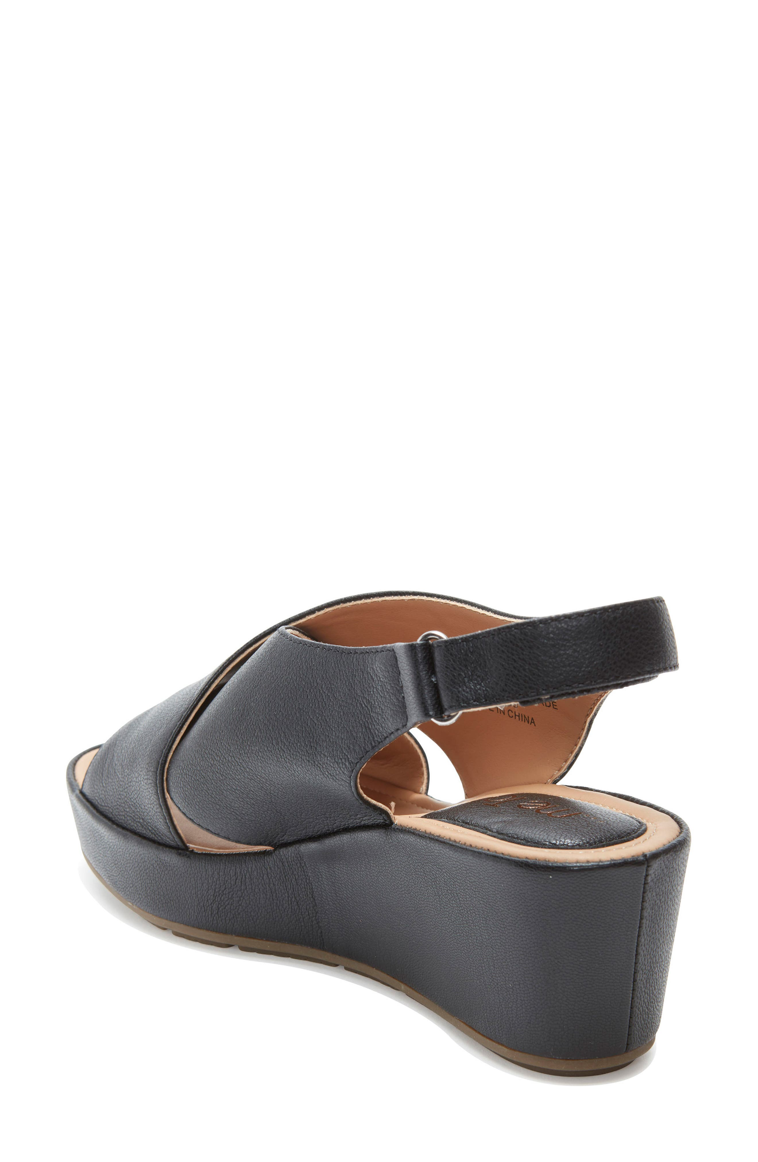 ME TOO, Arena Wedge Sandal, Alternate thumbnail 2, color, BLACK LEATHER
