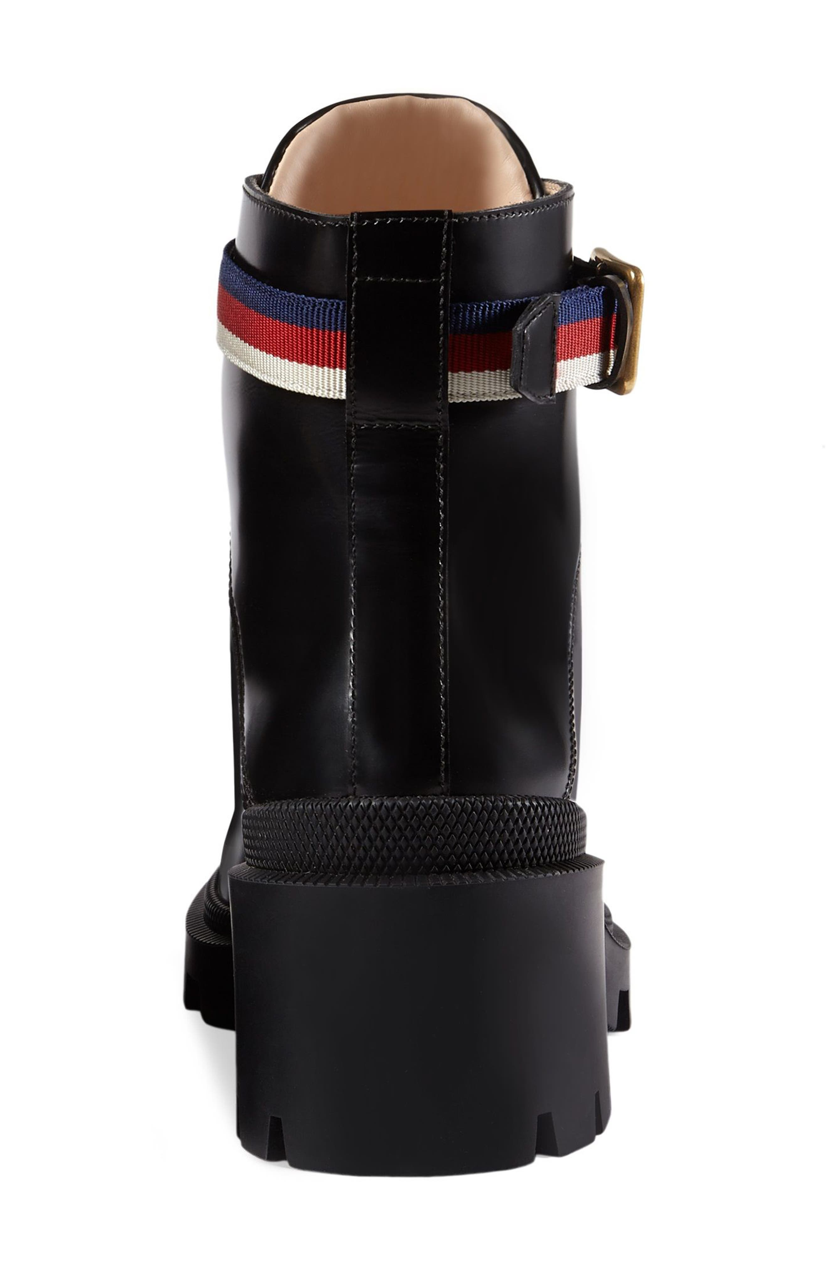 GUCCI, Trip Lug Sole Combat Boot, Alternate thumbnail 2, color, BLACK LEATHER