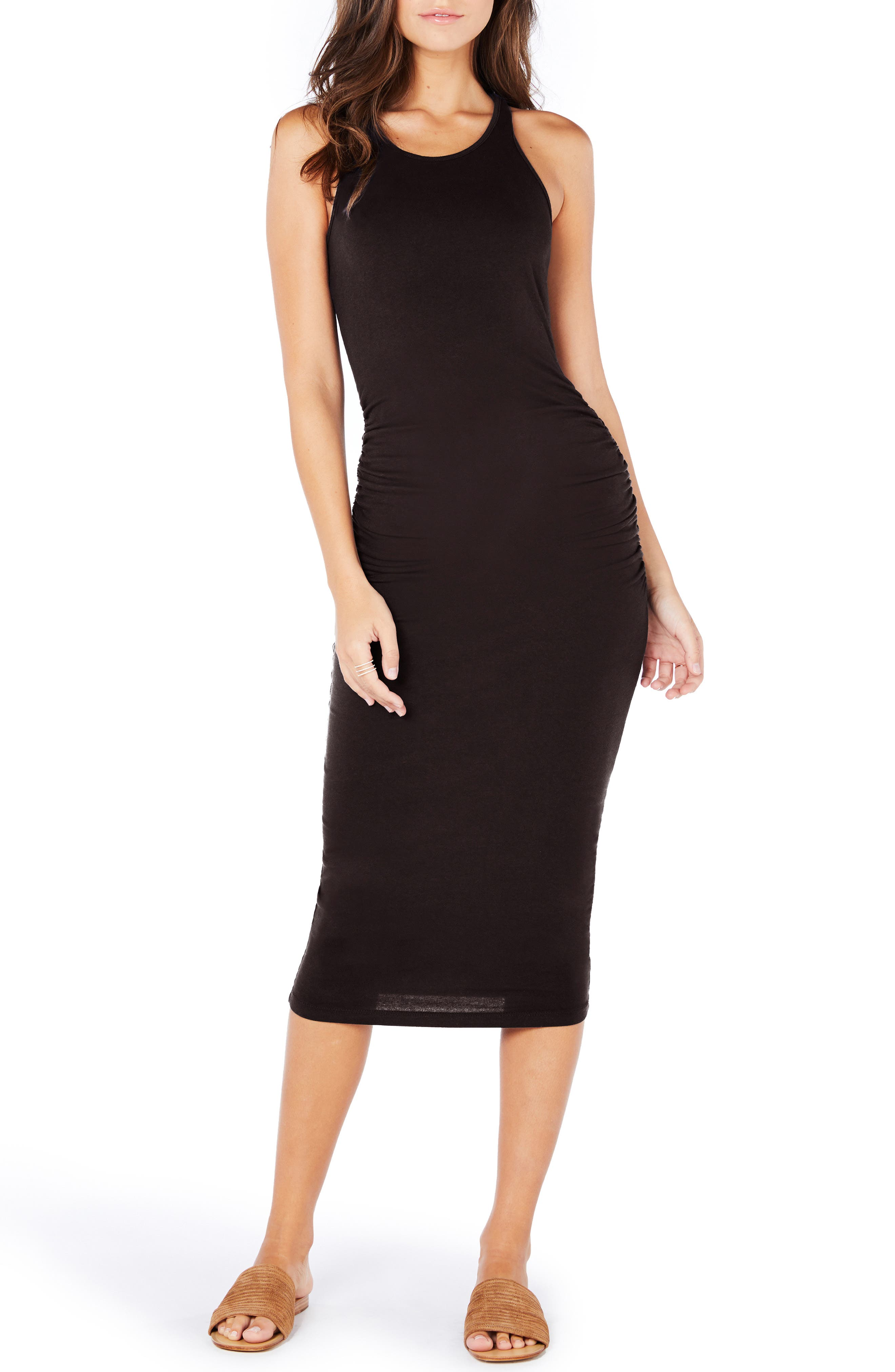 MICHAEL STARS, Racerback Midi Dress, Main thumbnail 1, color, JAVA