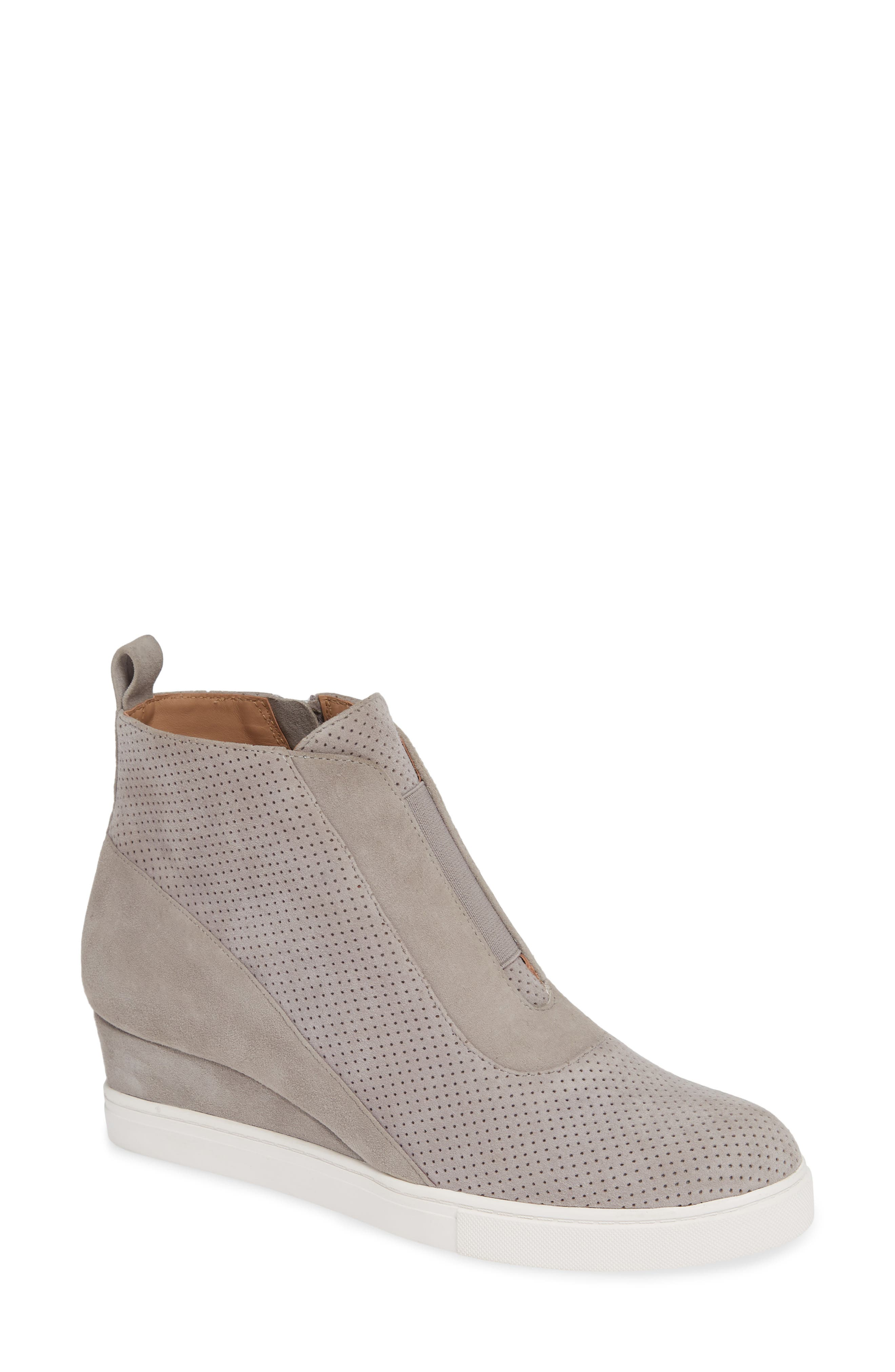 LINEA PAOLO, Anna Wedge Sneaker, Main thumbnail 1, color, ROCK PER SUEDE