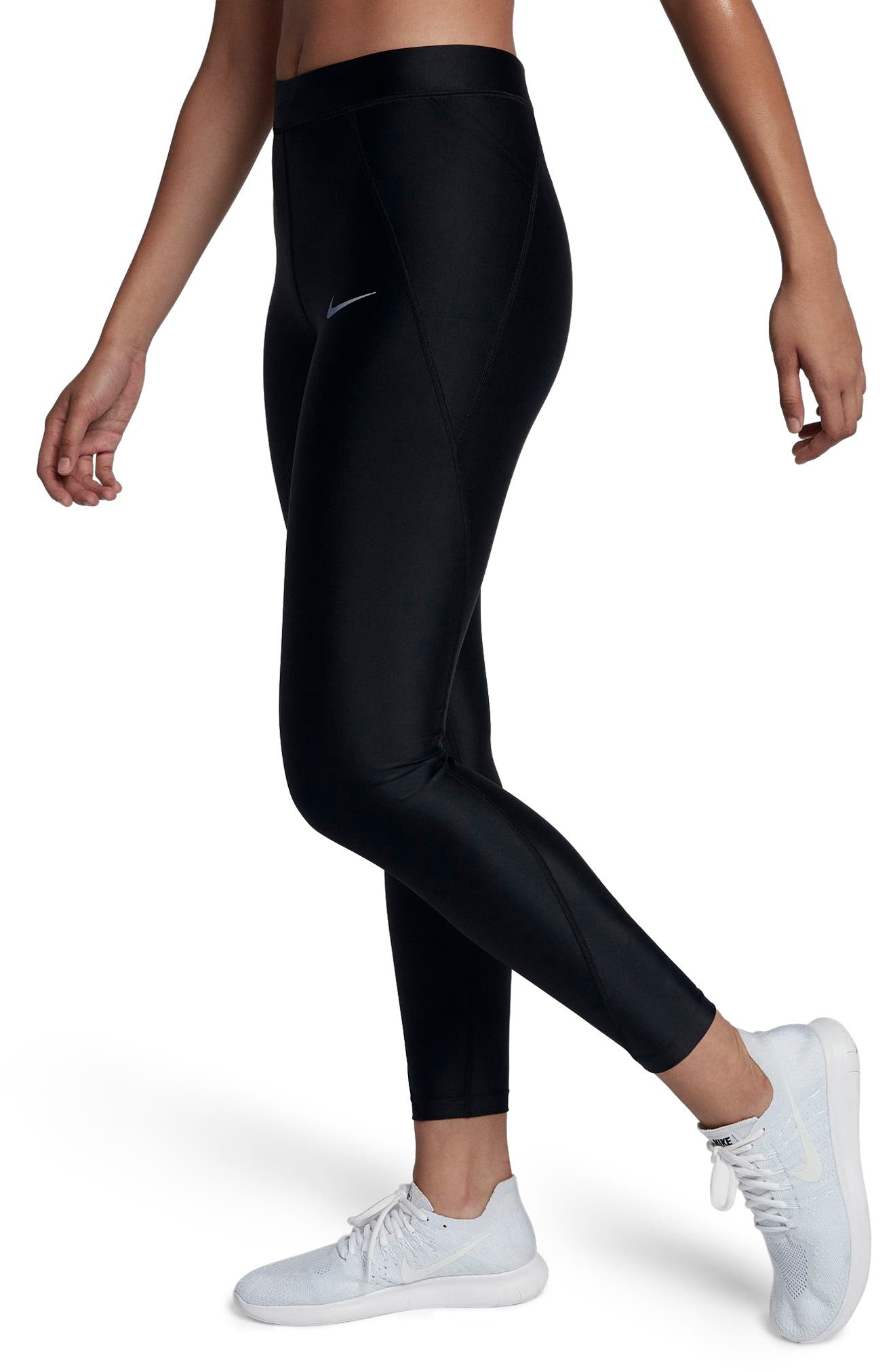 NIKE, Power Speed 7/8 Running Tights, Alternate thumbnail 4, color, BLACK