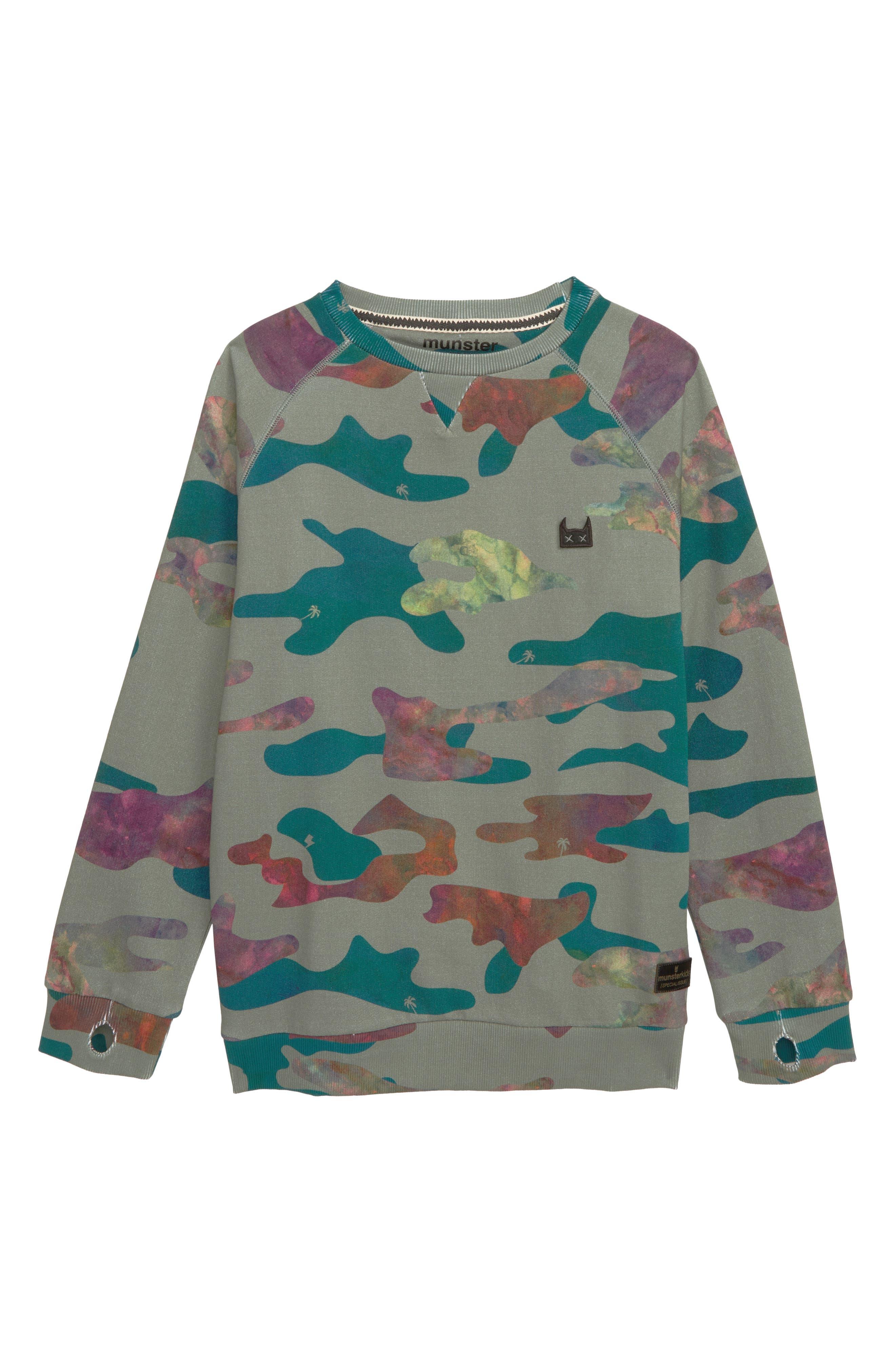 MUNSTERKIDS Liquid Camo Sweatshirt, Main, color, CAMO
