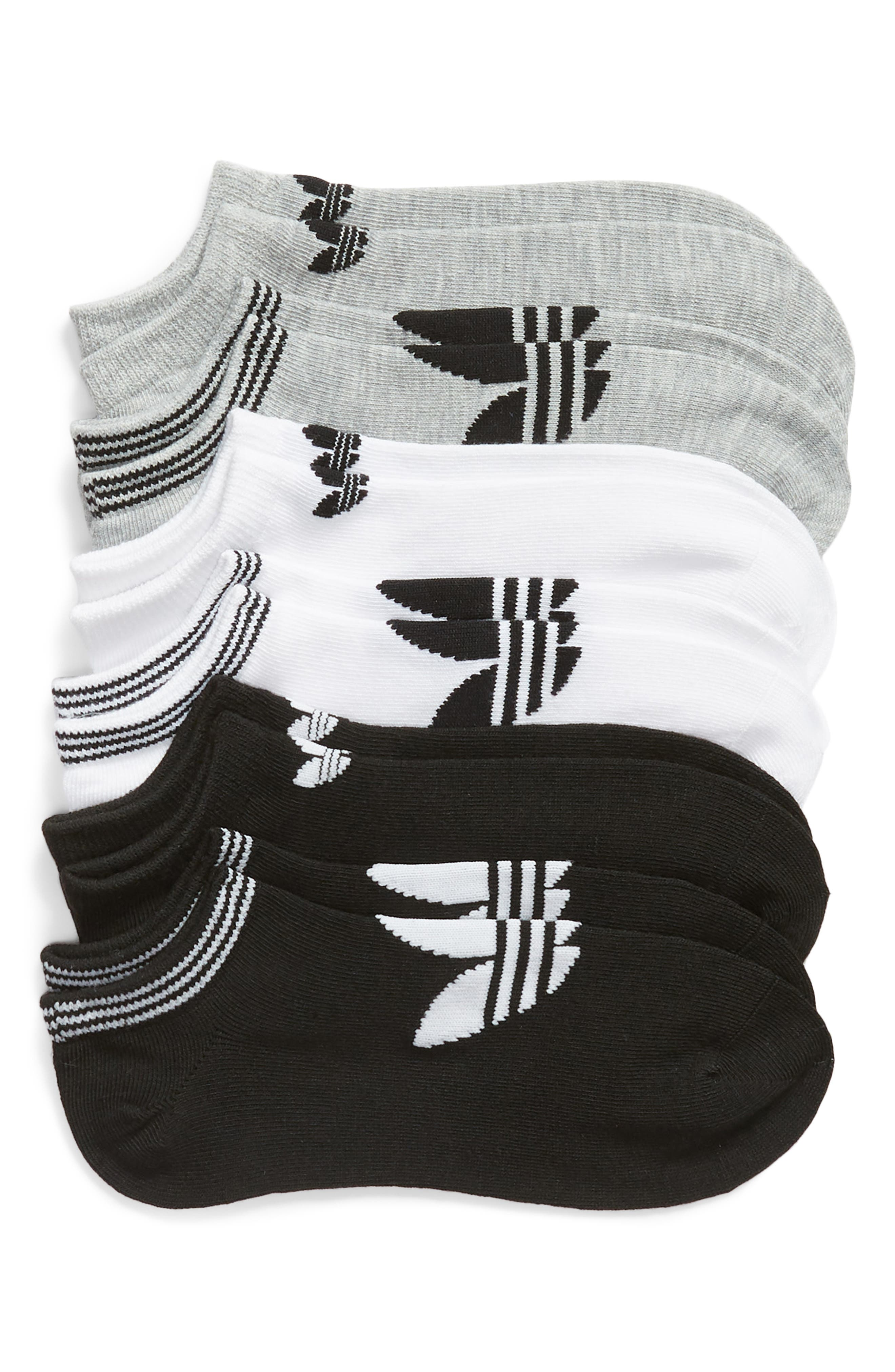 ADIDAS, 6-Pack No-Show Socks, Main thumbnail 1, color, WHITE/ LT HTHR GREY/ BLACK