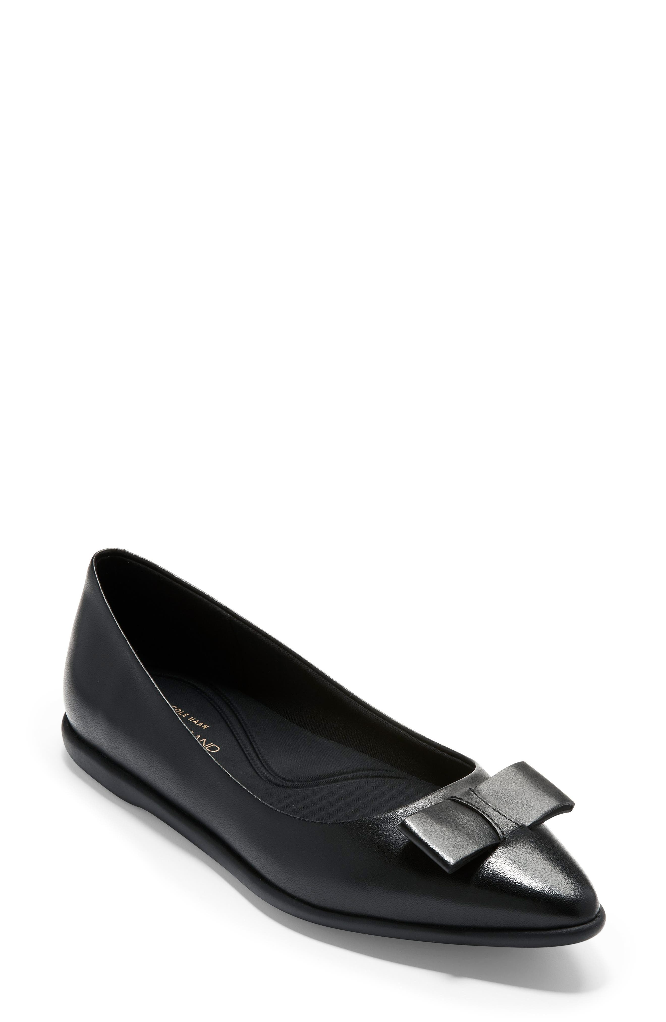 COLE HAAN, 3.ZeroGrand Skimmer Flat, Main thumbnail 1, color, BLACK LEATHER