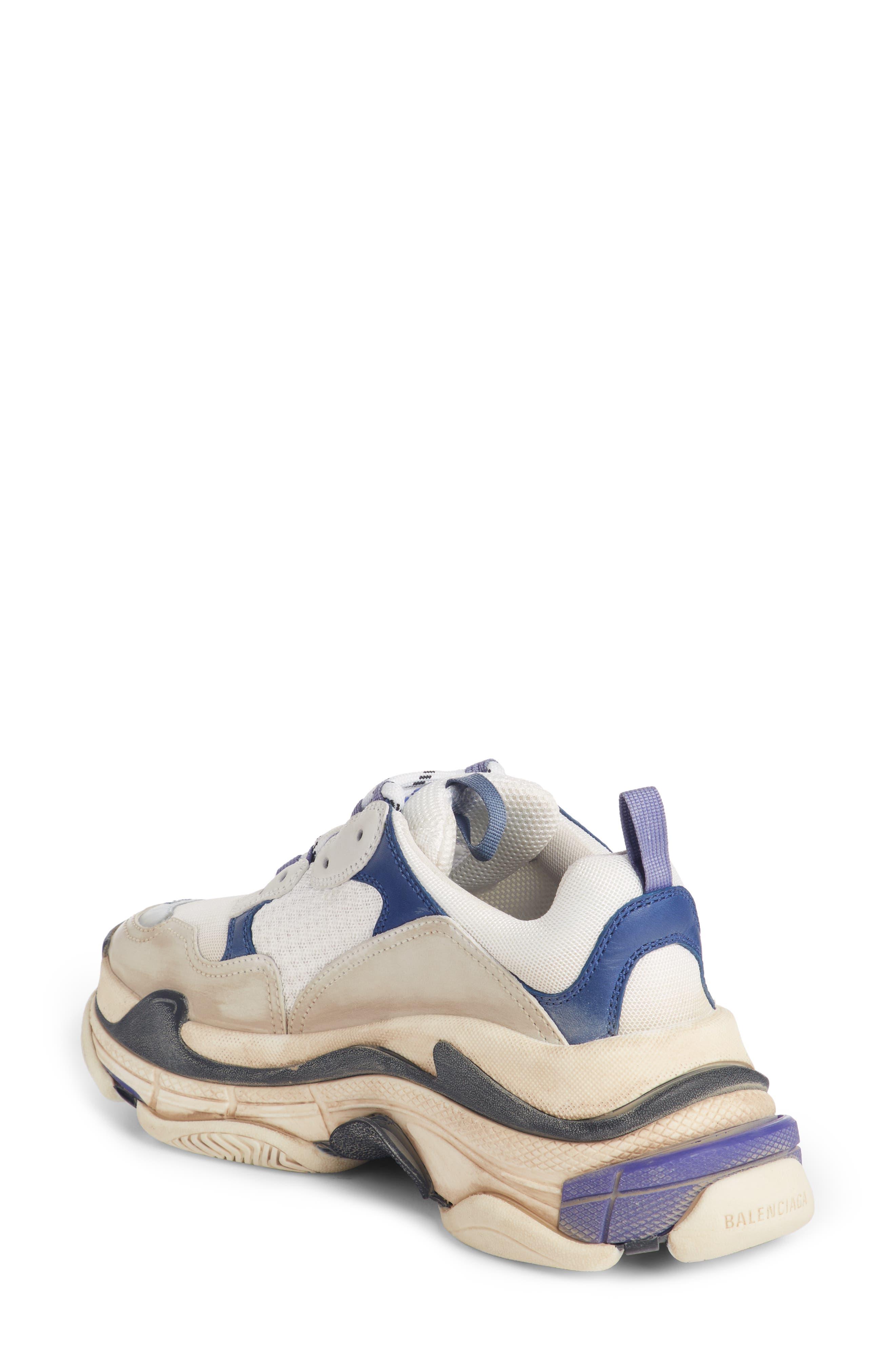 BALENCIAGA, Triple S Sneaker, Alternate thumbnail 2, color, VIOLET/ WHITE/ BLUE