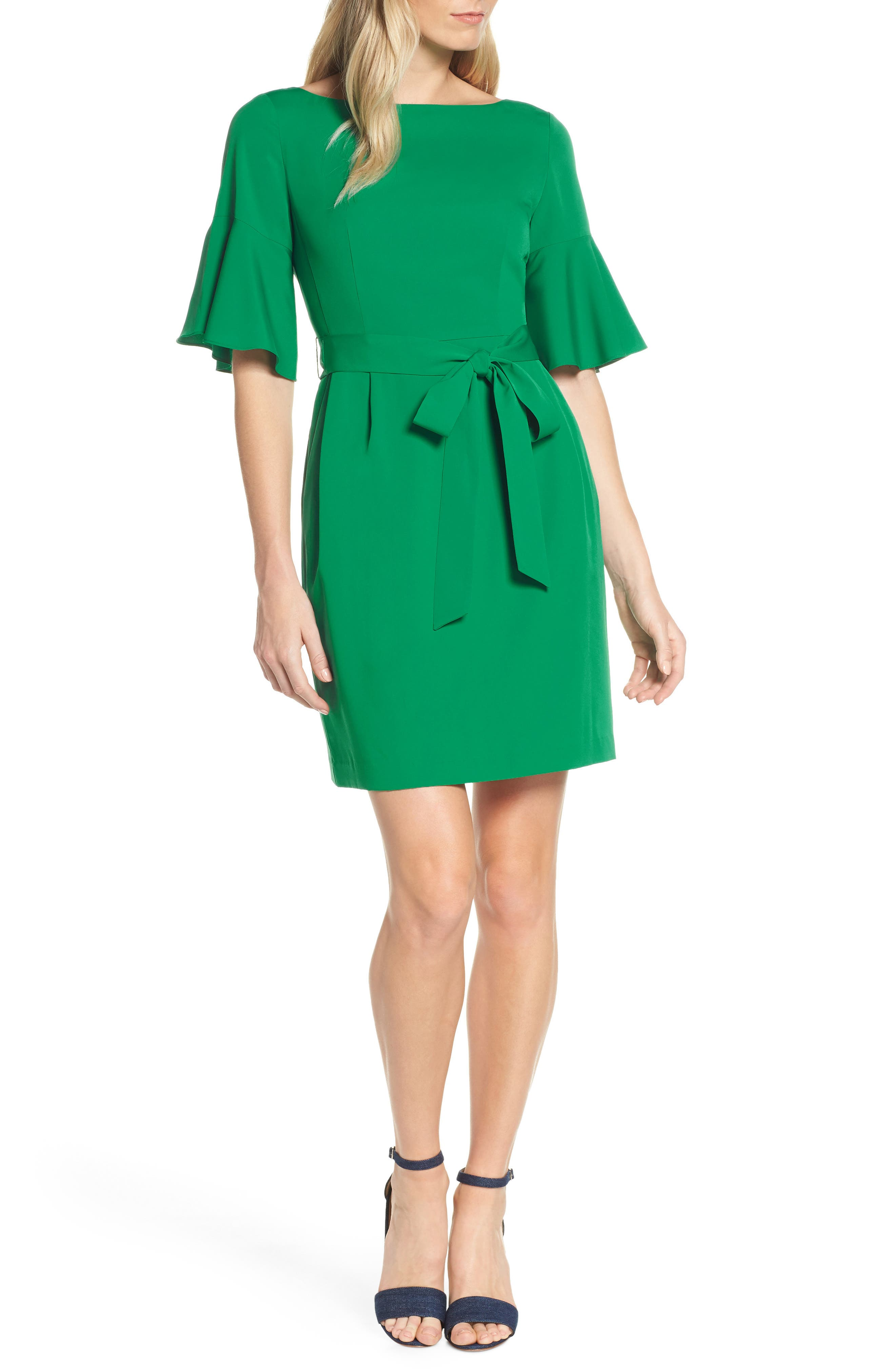 ELIZA J, Bell Sleeve Sheath Dress, Main thumbnail 1, color, GREEN