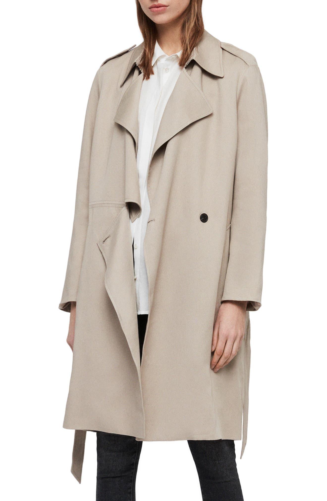 ALLSAINTS Bexley Mac Jacket, Main, color, BEIGE