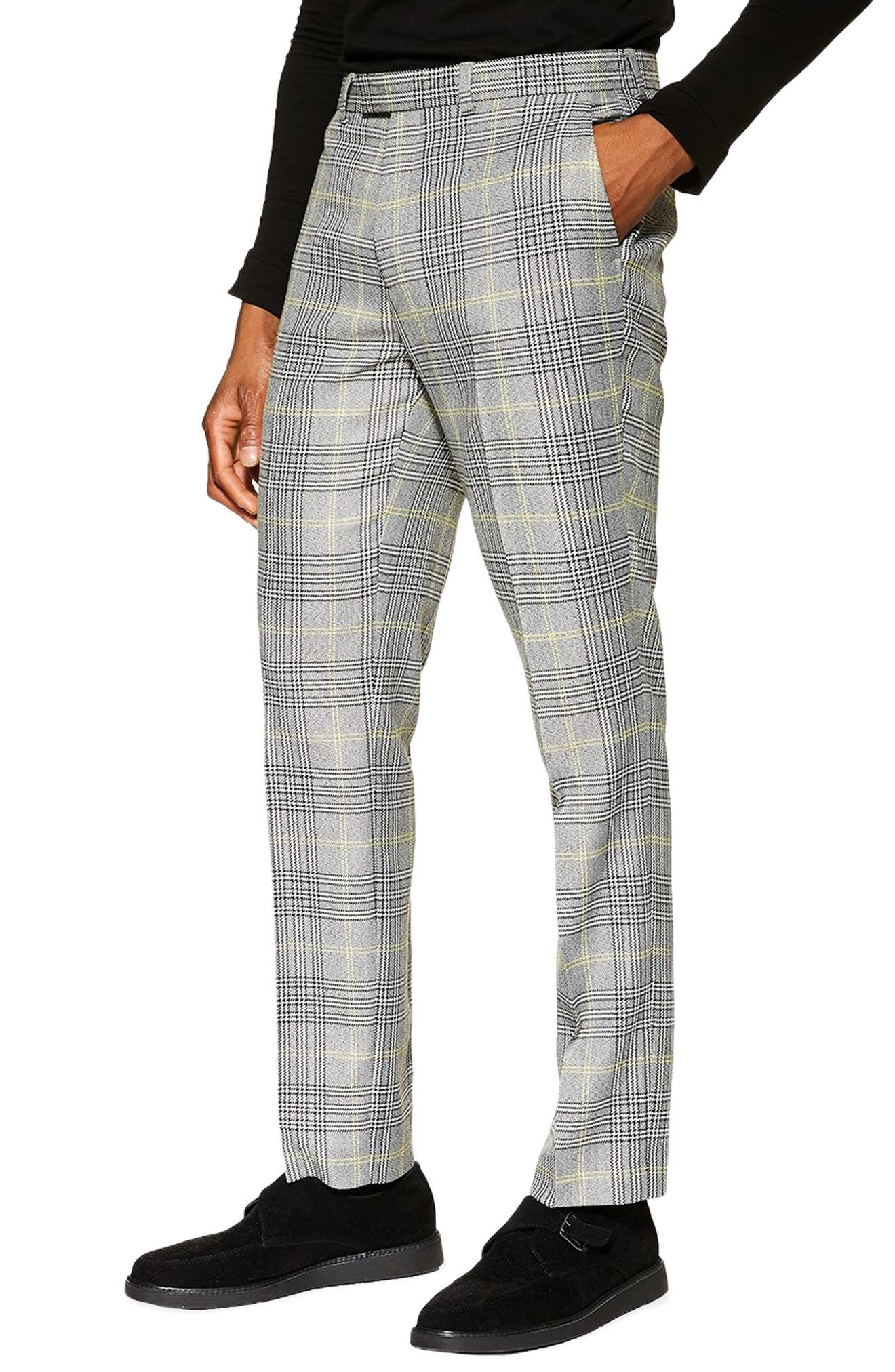 TOPMAN Check Slim Trousers, Main, color, GREY