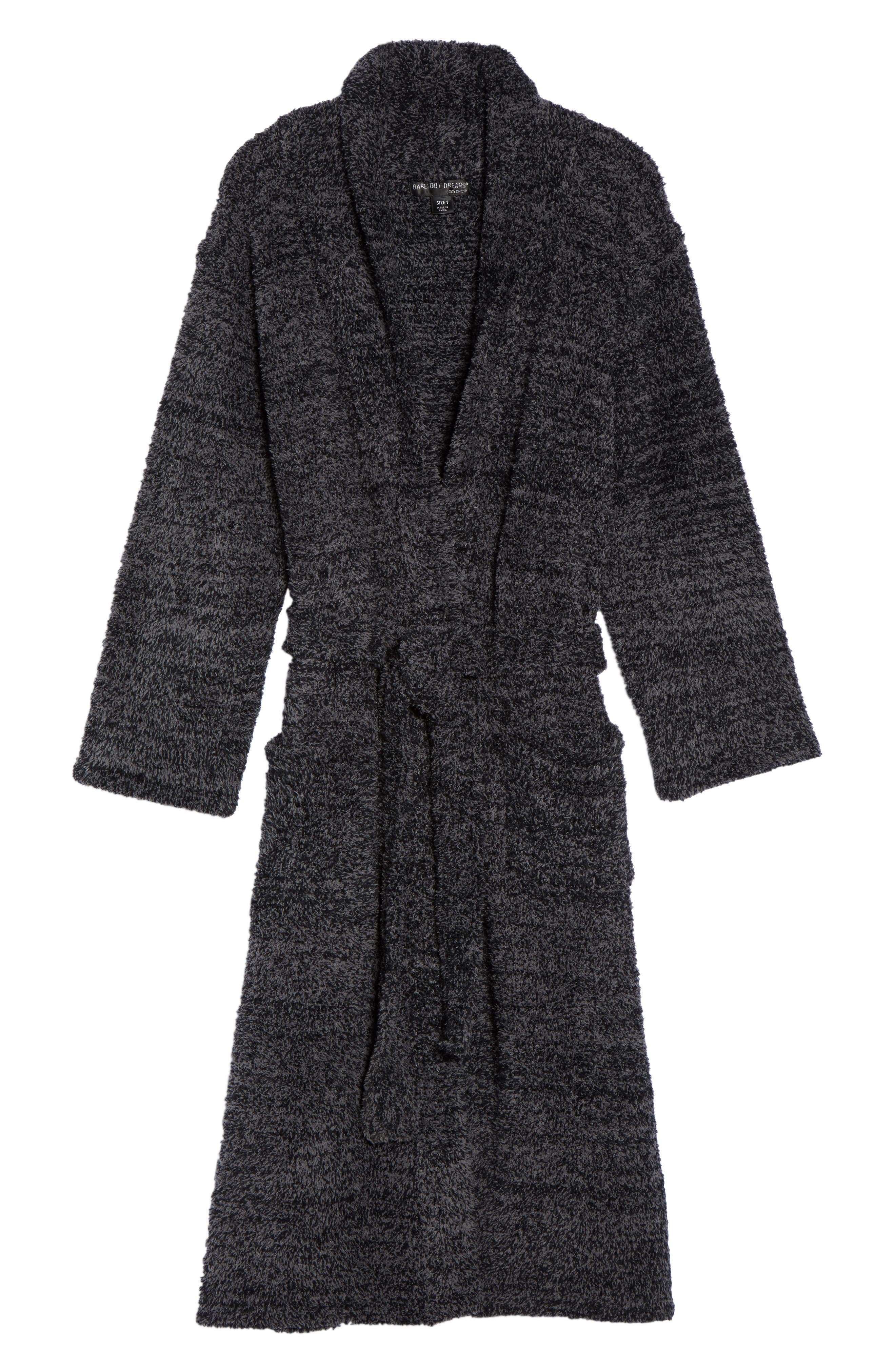 BAREFOOT DREAMS<SUP>®</SUP>, CozyChic<sup>®</sup> Robe, Alternate thumbnail 6, color, BLACK/ GRAPHITE