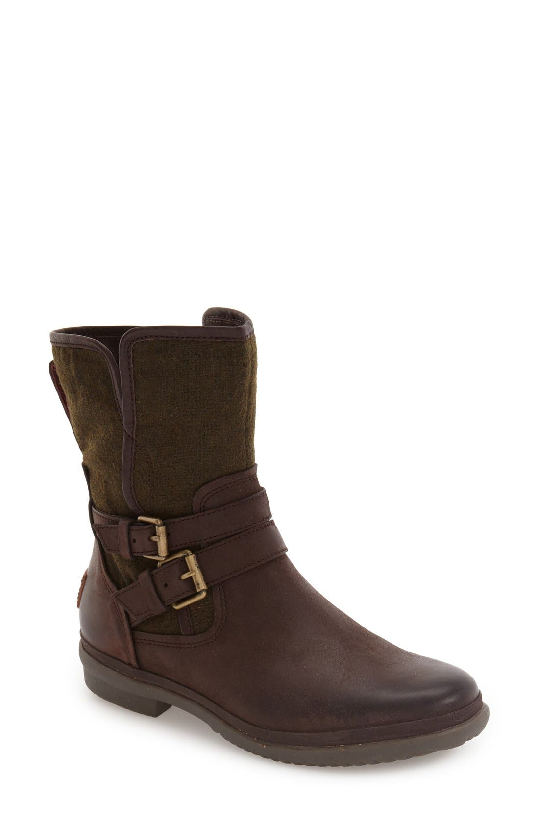 UGG<SUP>®</SUP> Simmens Waterproof Leather Boot, Main, color, STOUT WOOL