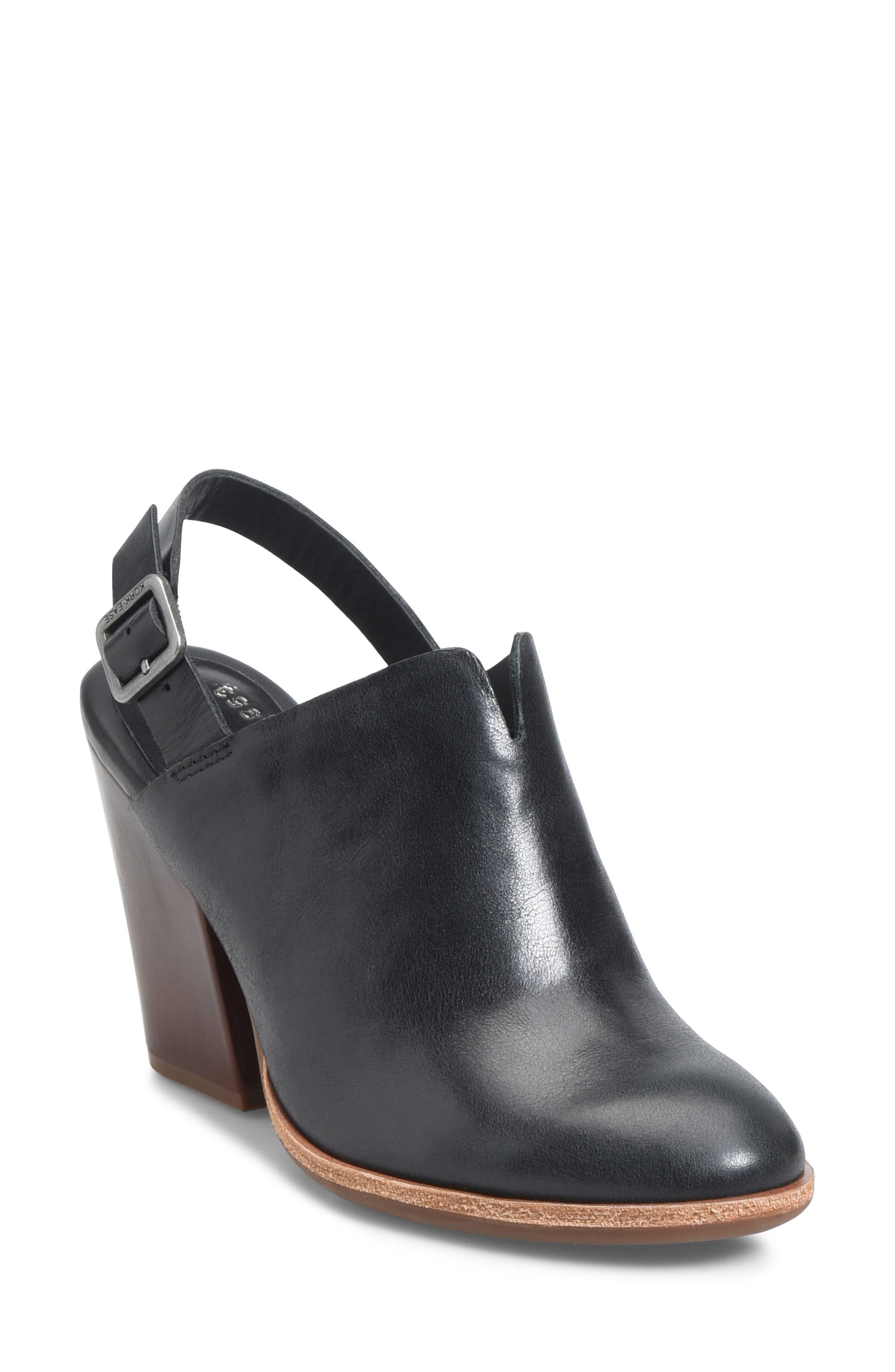 KORK-EASE<SUP>®</SUP> Janelle Slingback Clog, Main, color, BLACK LEATHER
