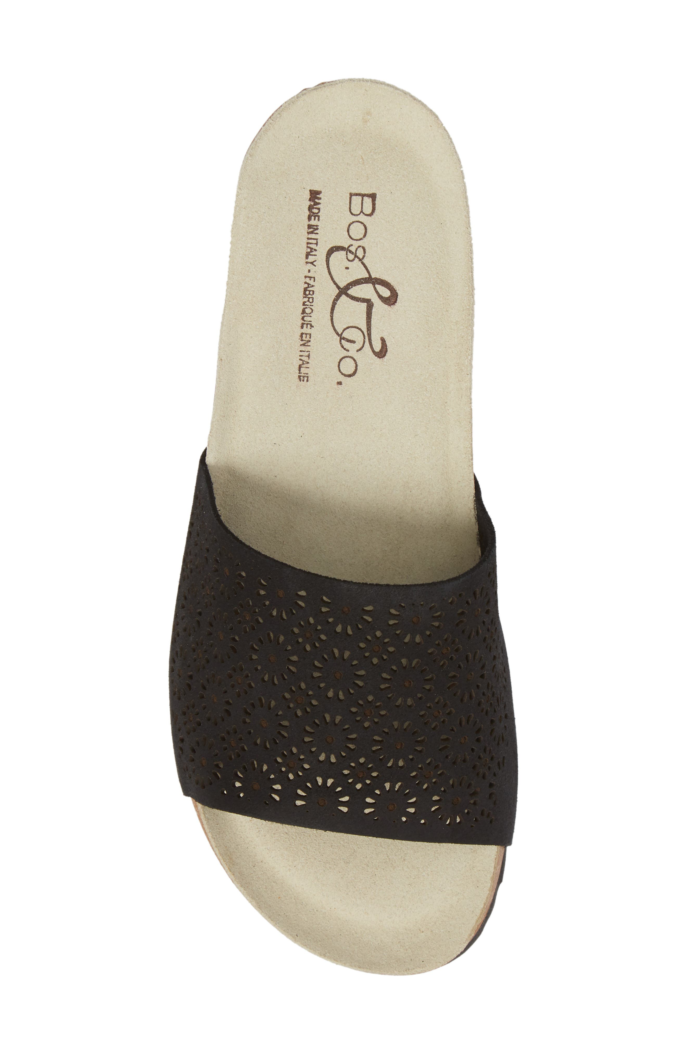 BOS. & CO., Loa Wedge Slide Sandal, Alternate thumbnail 5, color, BLACK SUEDE
