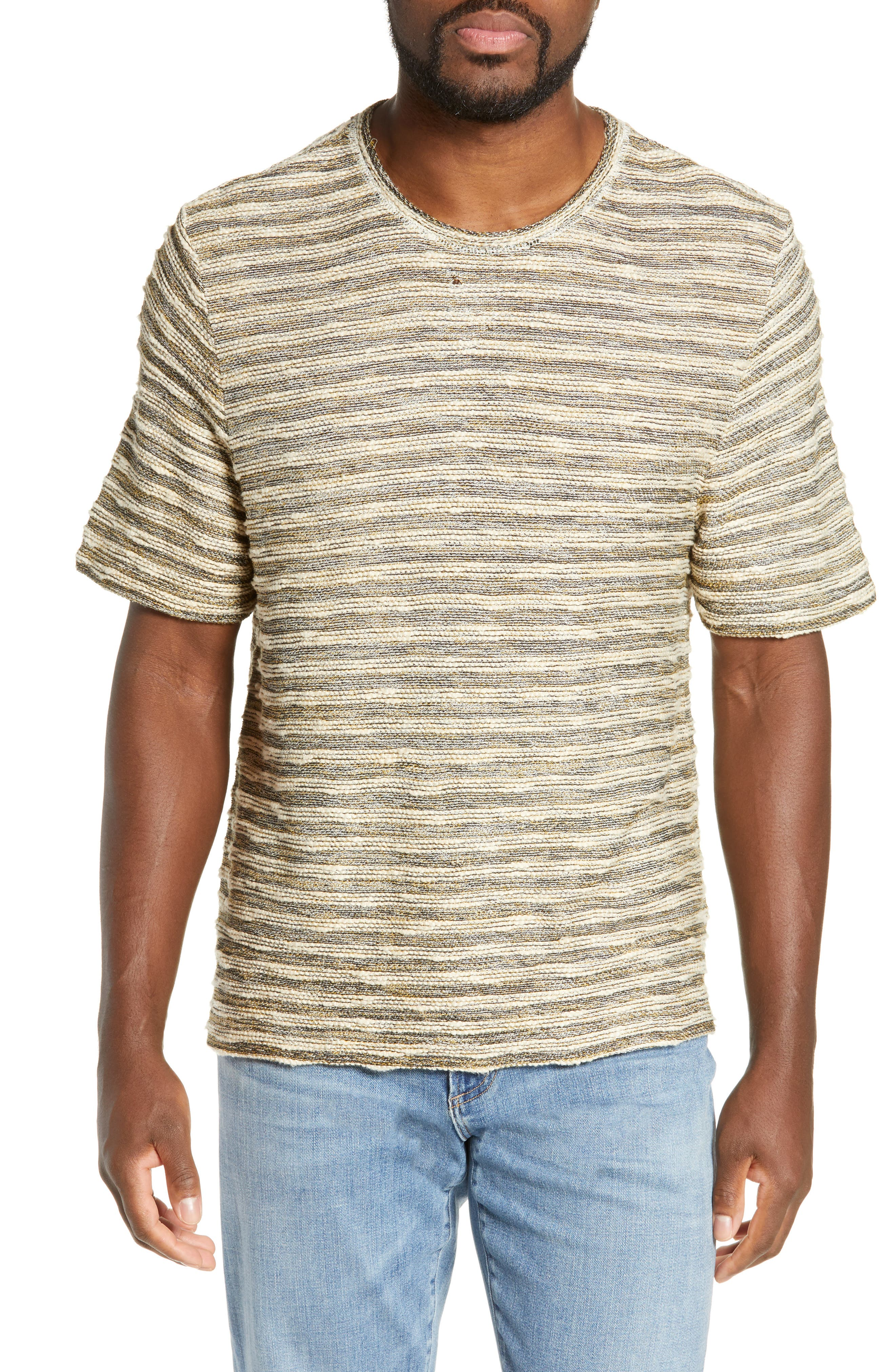 FRYE, Stripe Jacquard Regular Fit T-Shirt, Main thumbnail 1, color, WHITE