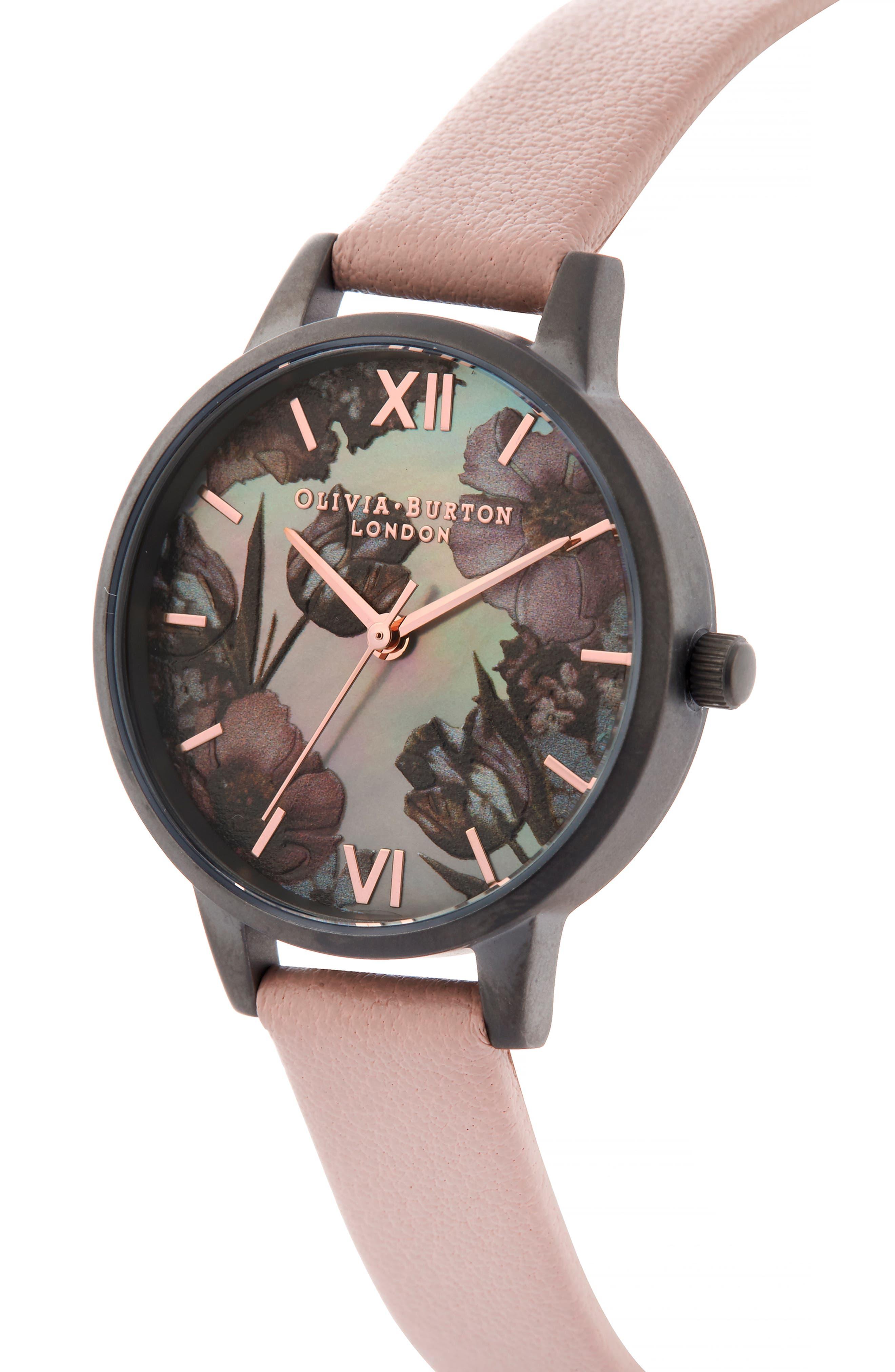 OLIVIA BURTON, Twilight Leather Strap Watch, 30mm, Alternate thumbnail 4, color, 650
