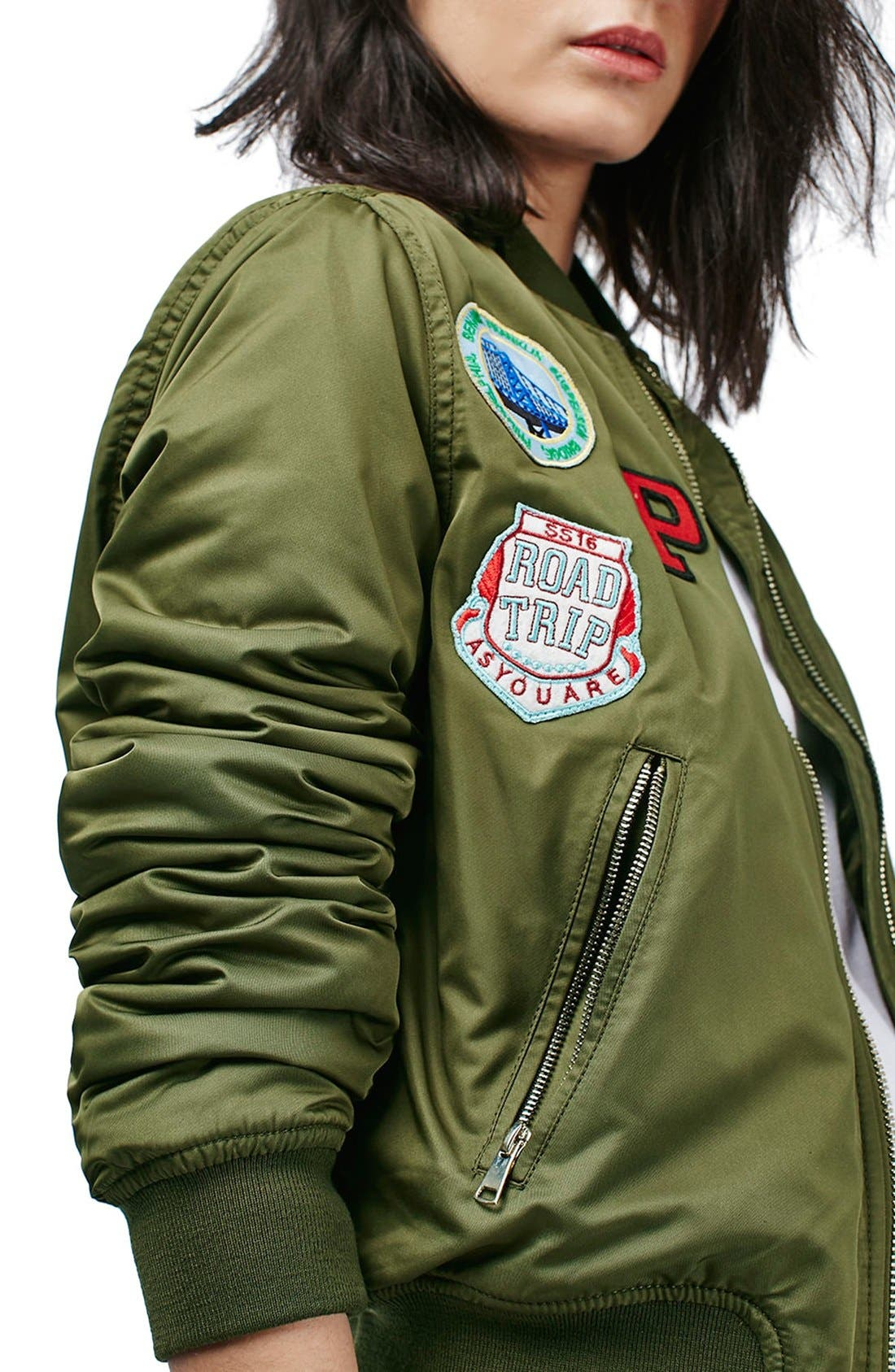 TOPSHOP, 'Bruce' Patch Detail MA1 Bomber Jacket, Alternate thumbnail 6, color, 300