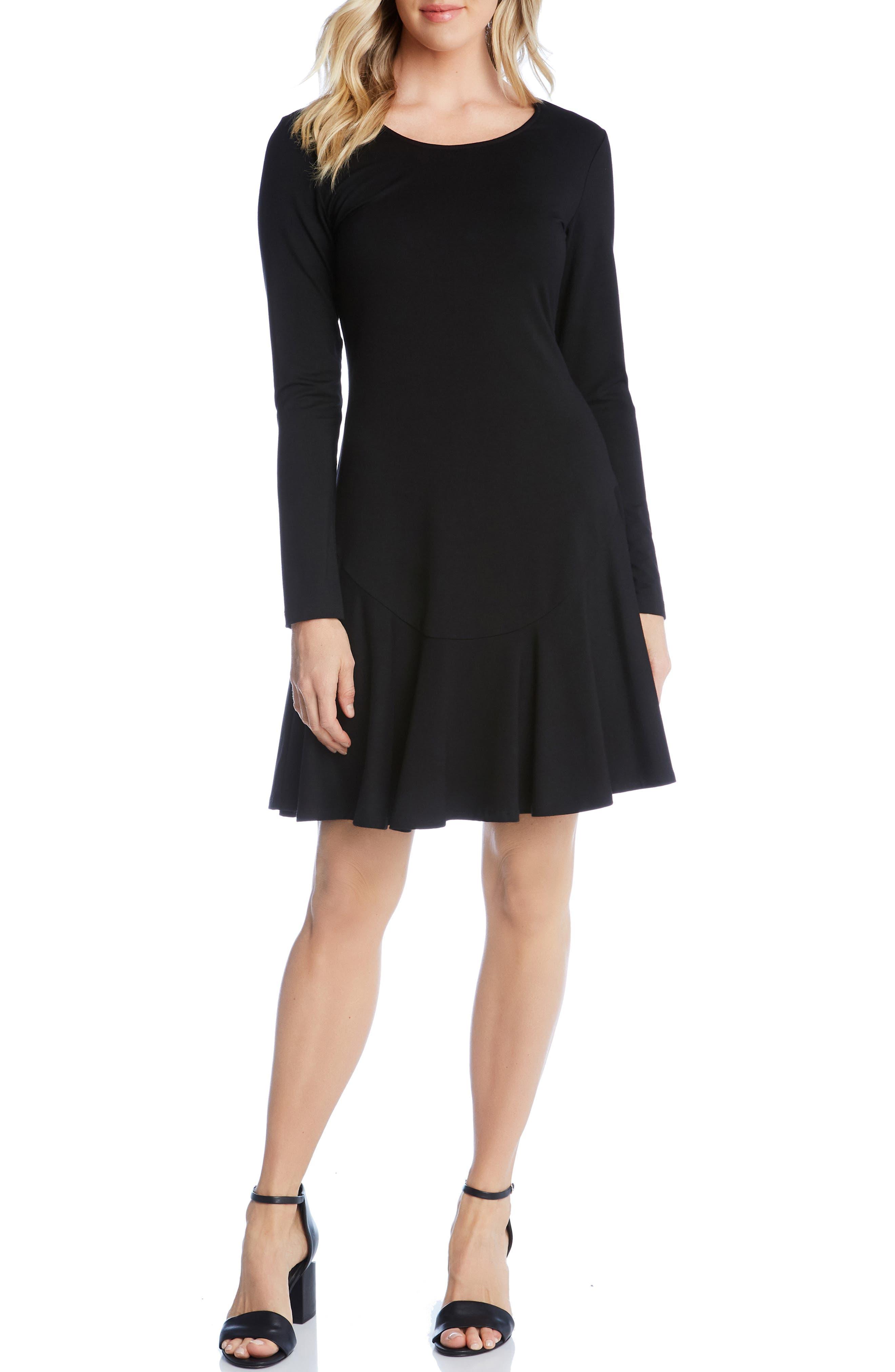KAREN KANE, Dakota Ruffle Hem A-Line Dress, Main thumbnail 1, color, BLACK