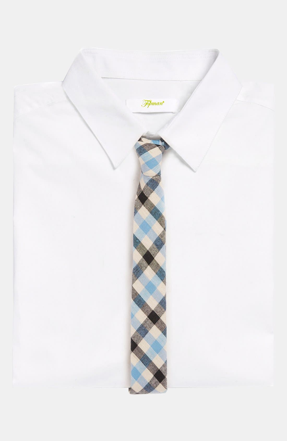 TOPMAN, Heritage Check Woven Tie, Alternate thumbnail 2, color, 400
