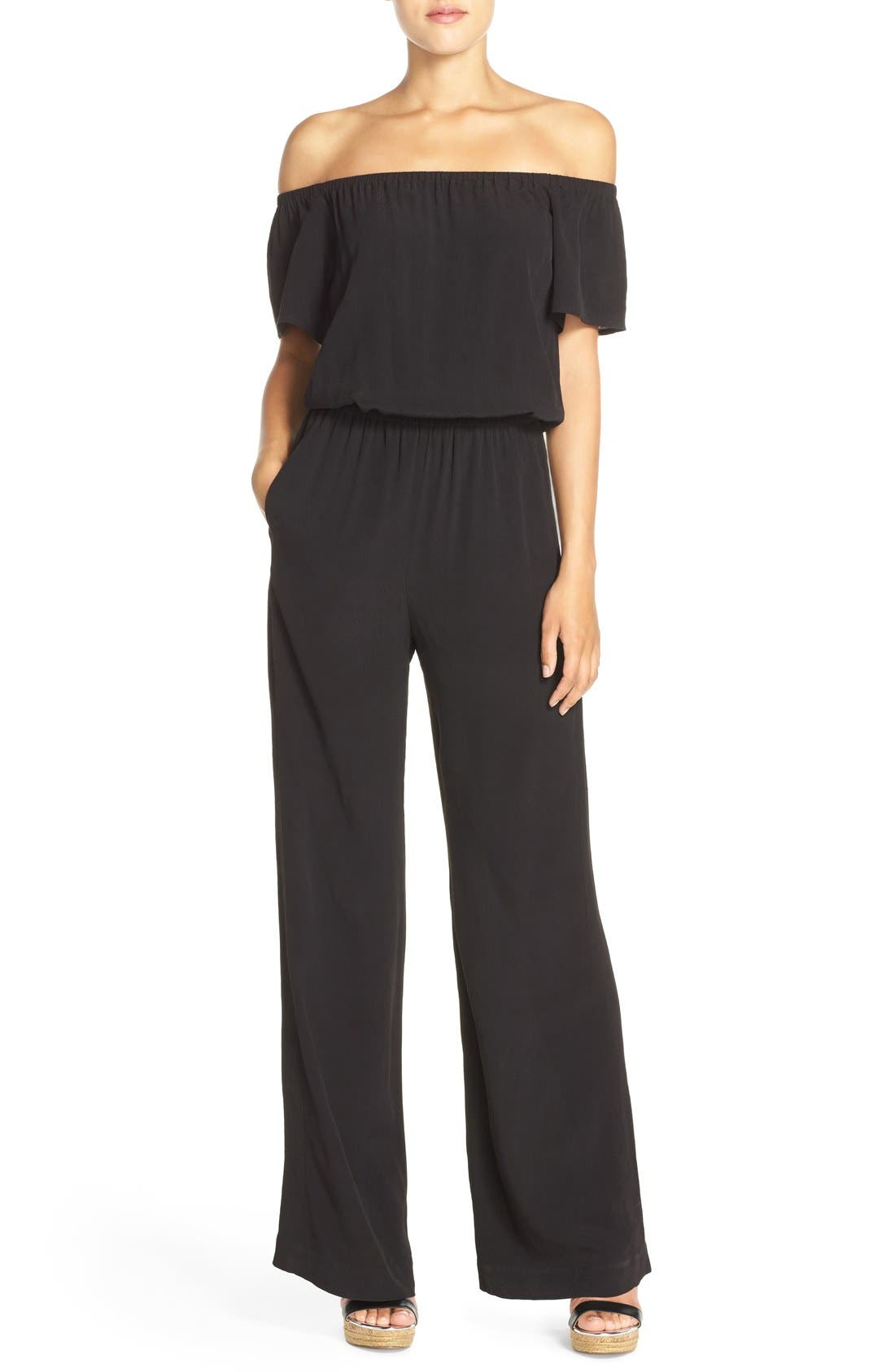 CHARLES HENRY, Off the Shoulder Wide Leg Jumpsuit, Main thumbnail 1, color, BLACK