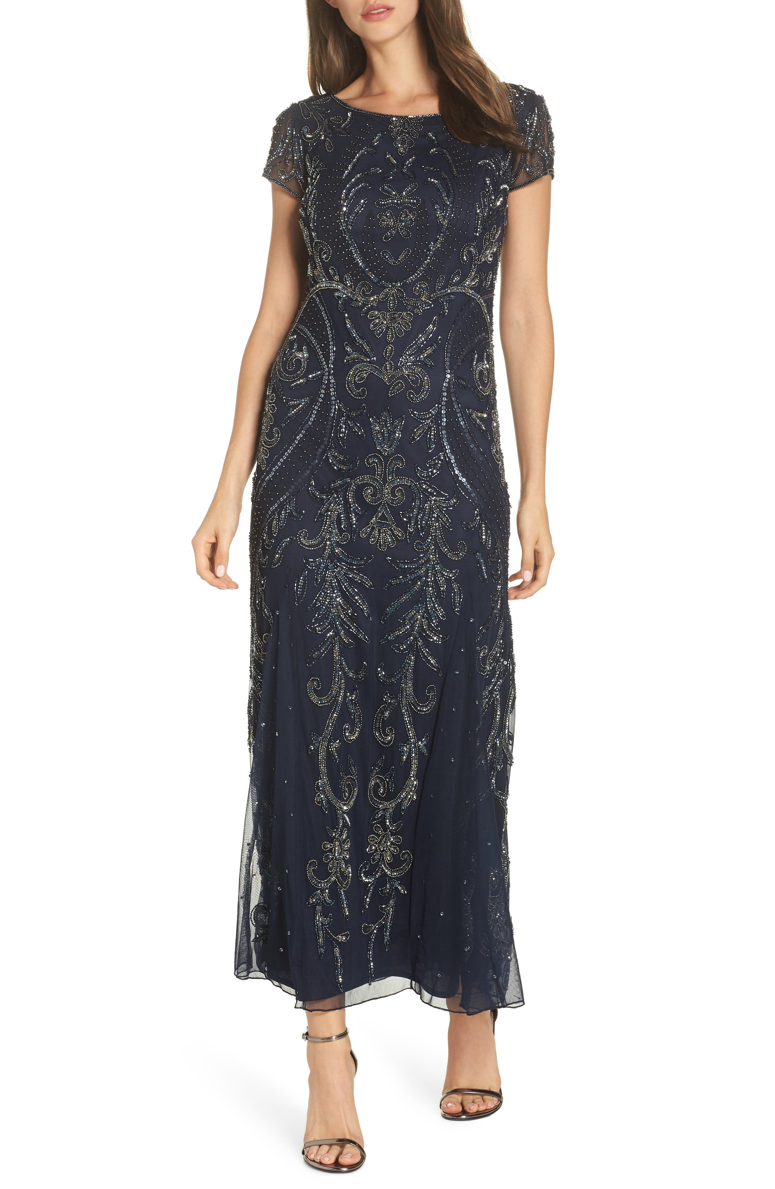 PISARRO NIGHTS, Embellished Mesh Gown, Main thumbnail 1, color, NAVY