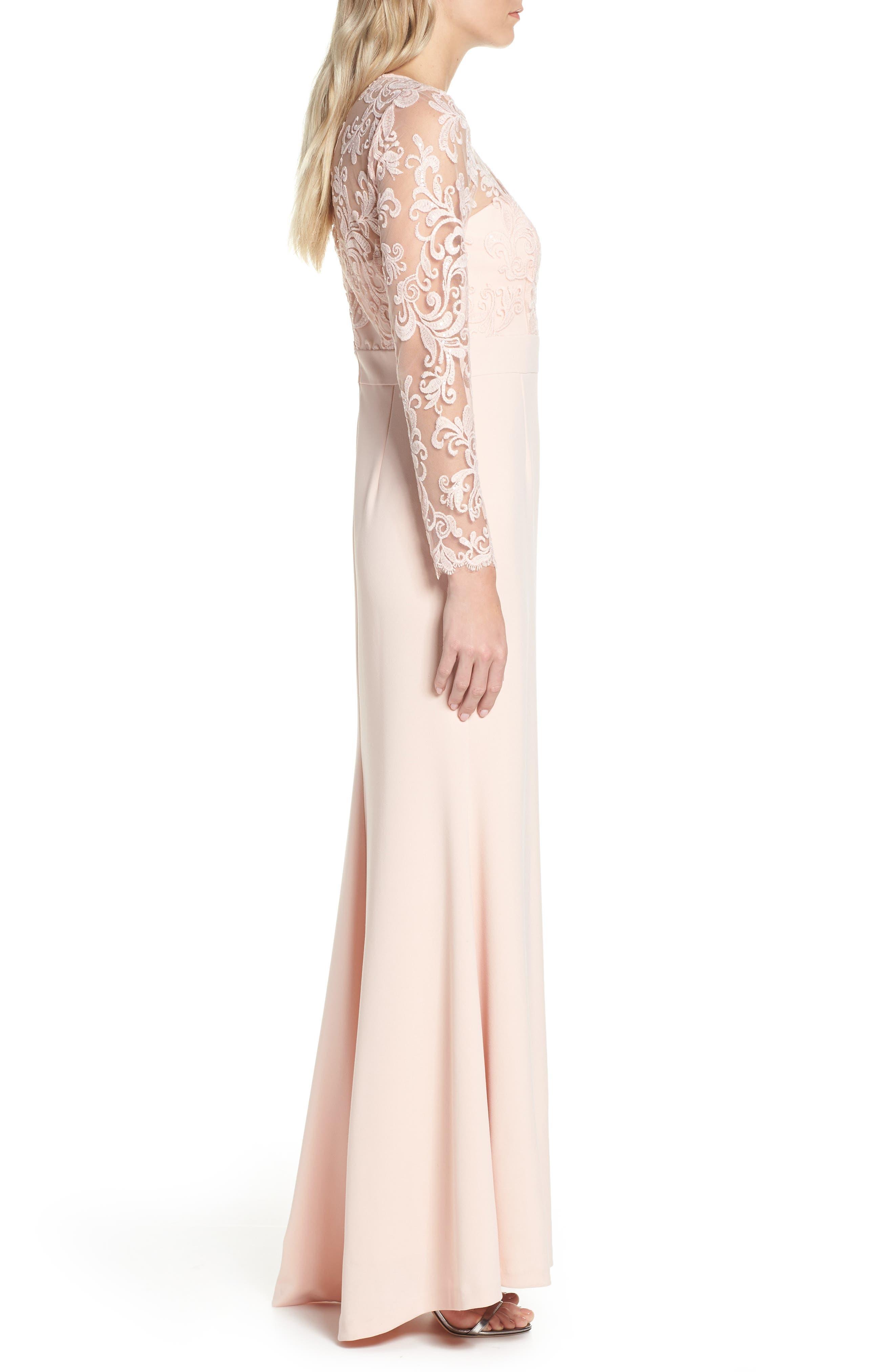 ELIZA J, Embroidered Bodice Crepe Evening Dress, Alternate thumbnail 5, color, BLUSH