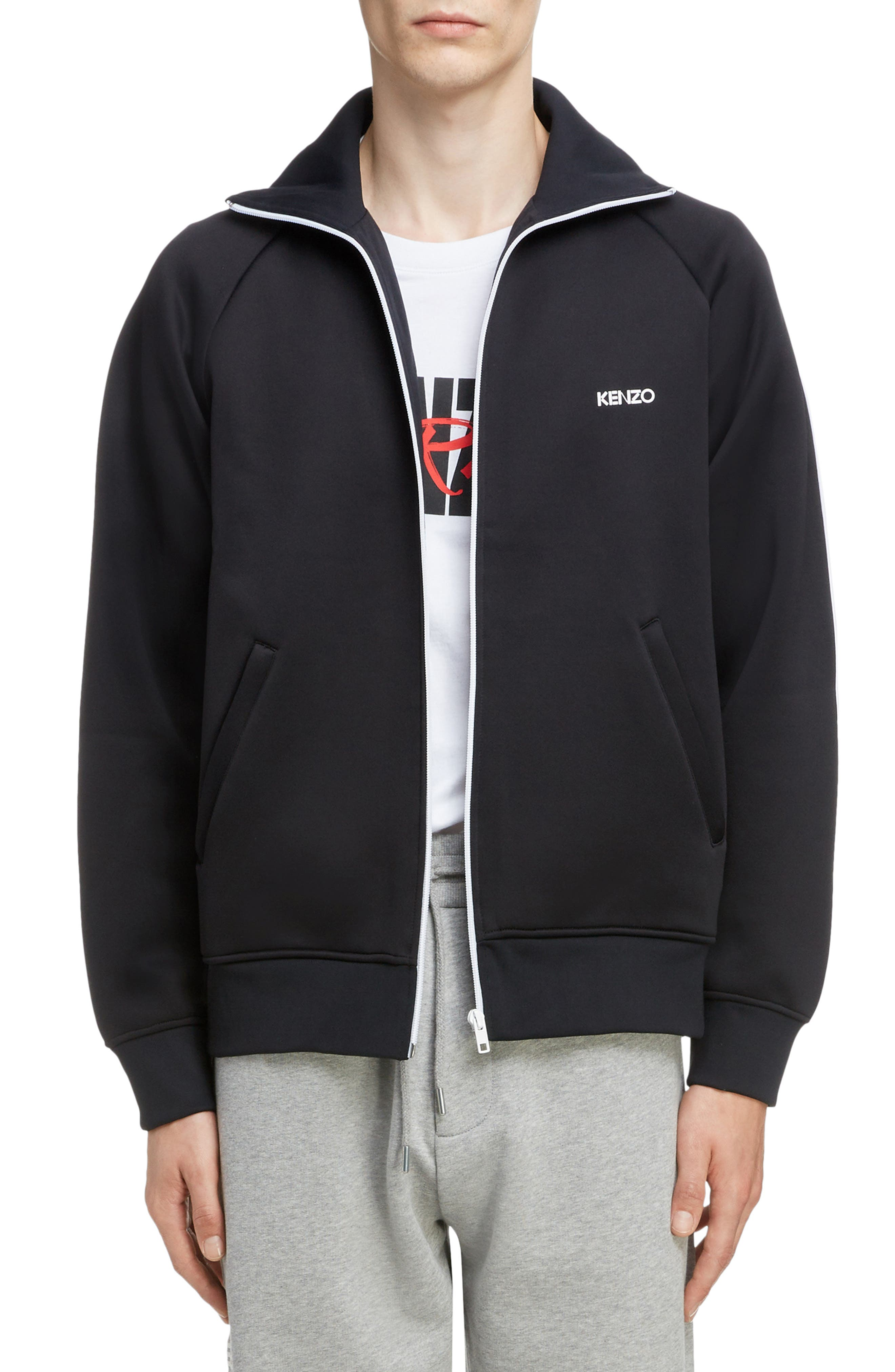 KENZO, Zip Track Jacket, Main thumbnail 1, color, BLACK