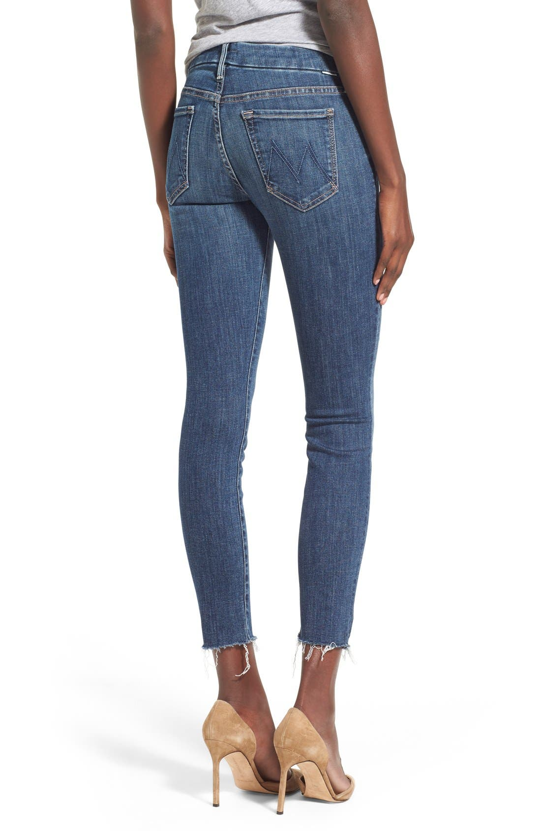 MOTHER, 'TheLooker'Frayed Ankle Jeans, Alternate thumbnail 4, color, 417