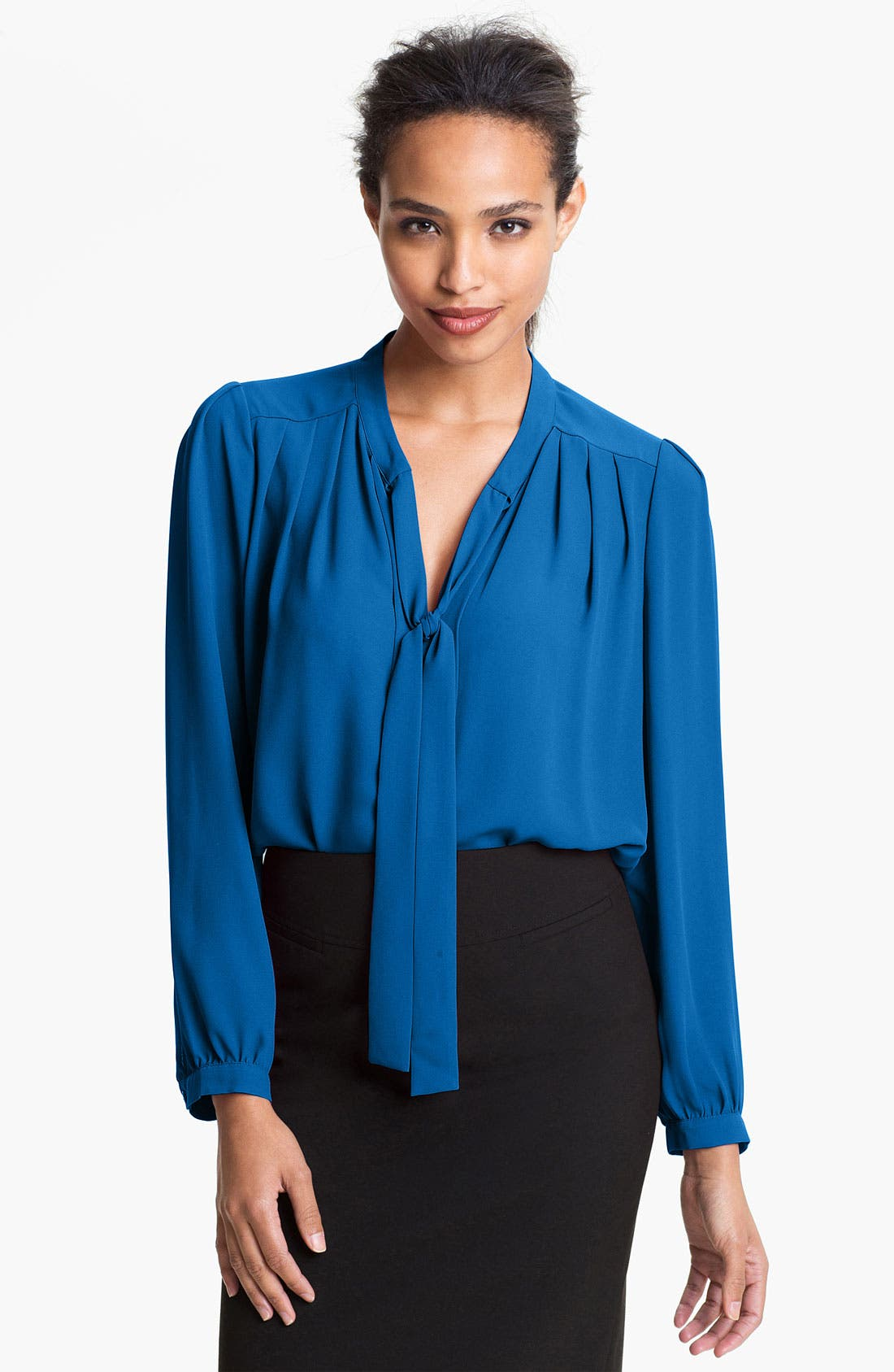 PLEIONE Tie Neck Pleated Blouse, Main, color, 400