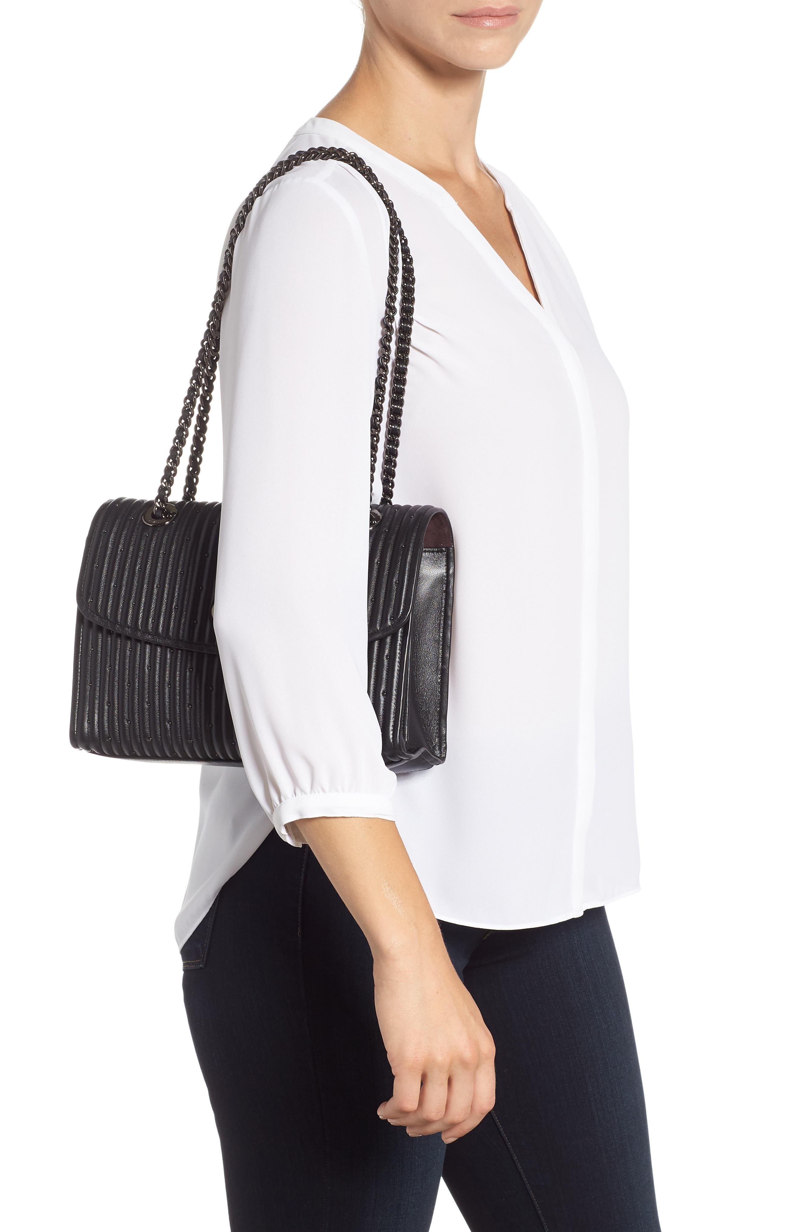 COACH, Parker Quilted Leather Shoulder Bag, Alternate thumbnail 2, color, BLACK