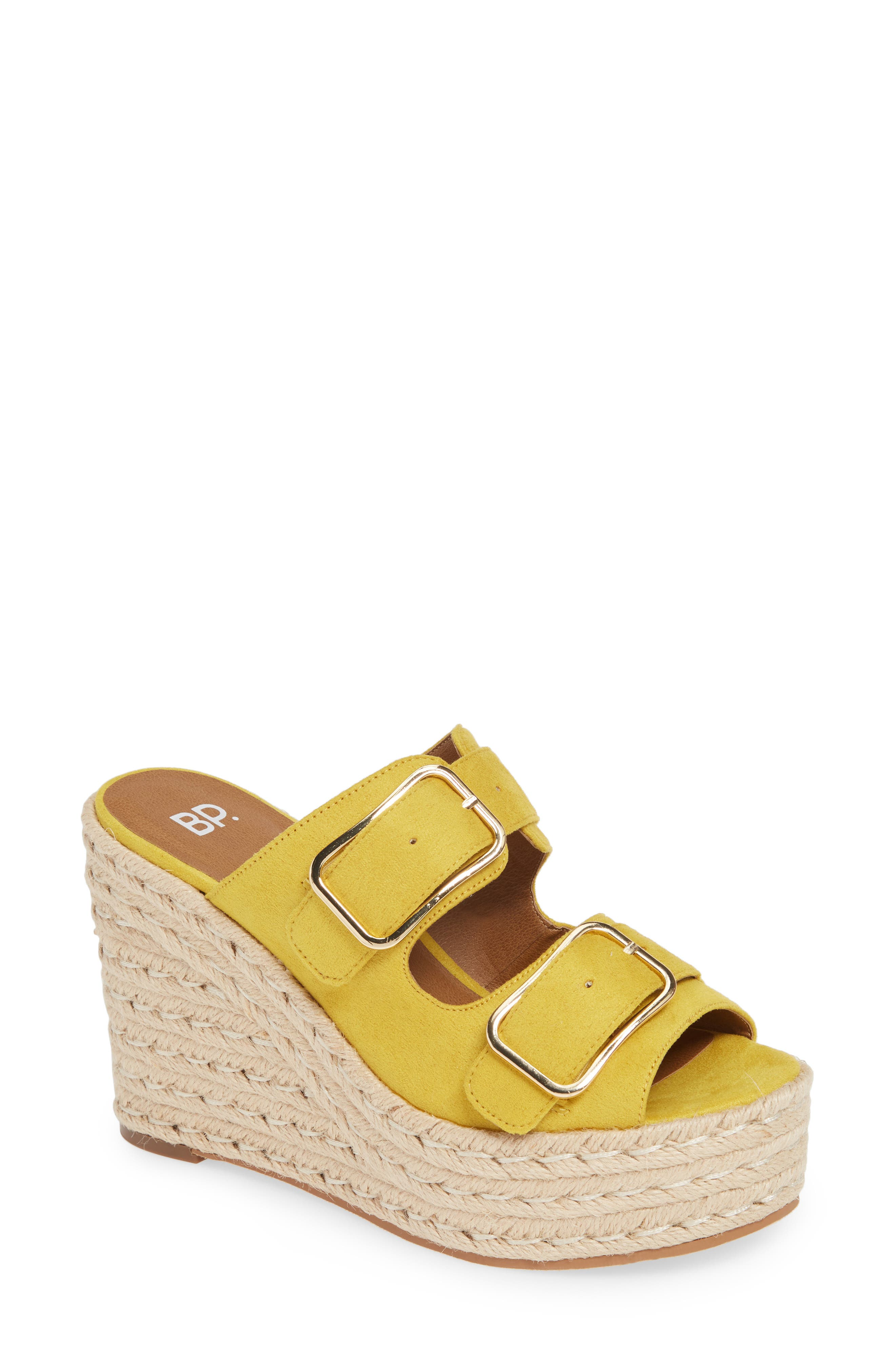BP. Dani Espadrille Wedge Sandal, Main, color, YELLOW FAUX SUEDE